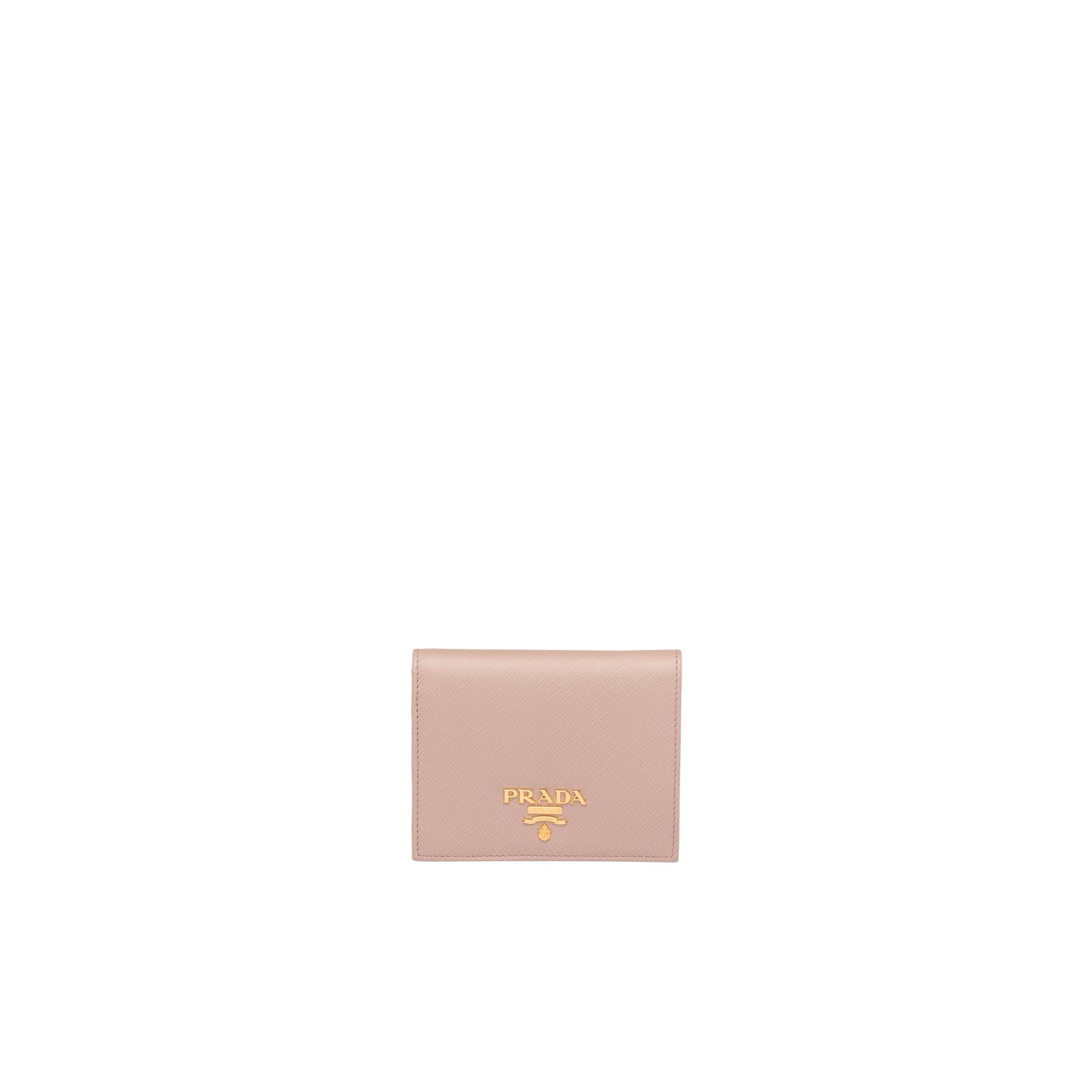 Small Saffiano Leather Wallet Women Powder Pink/fiery Red