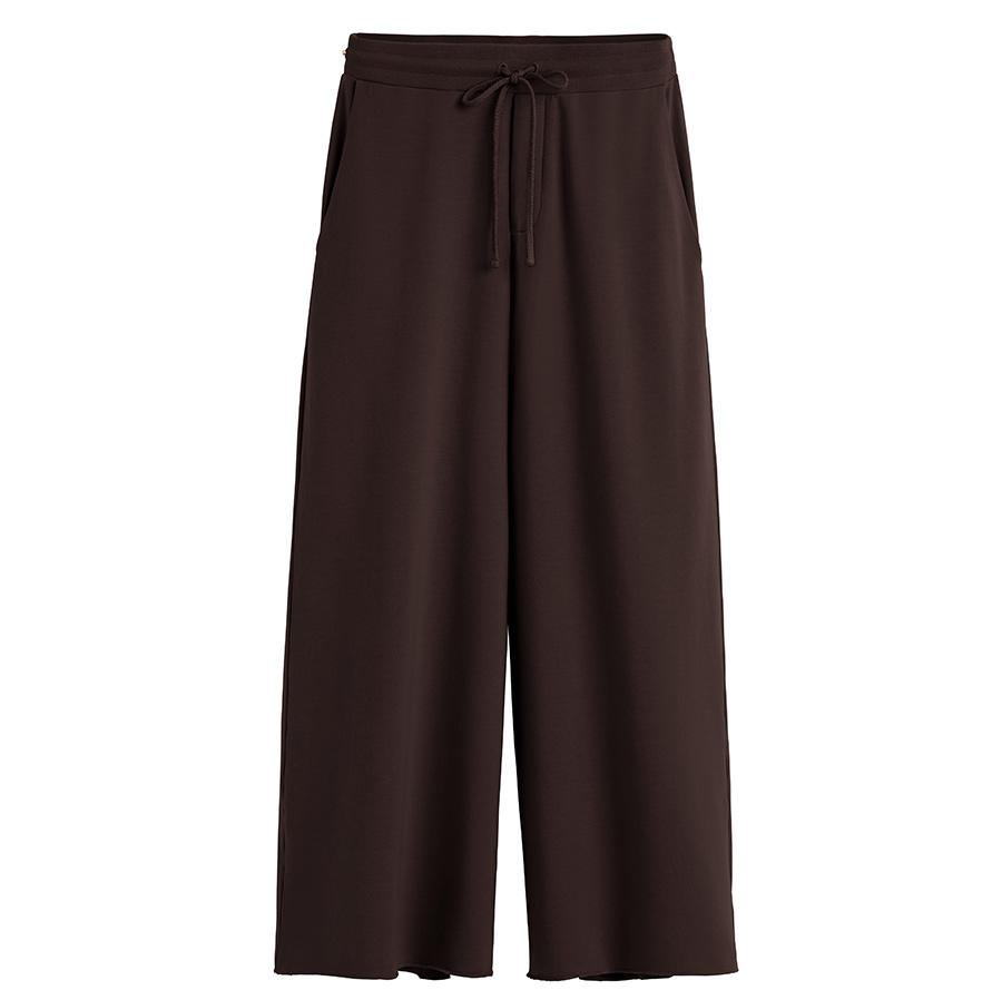 Women's French Terry Wide-Leg Cropped Pant in Chocolate | Size:
