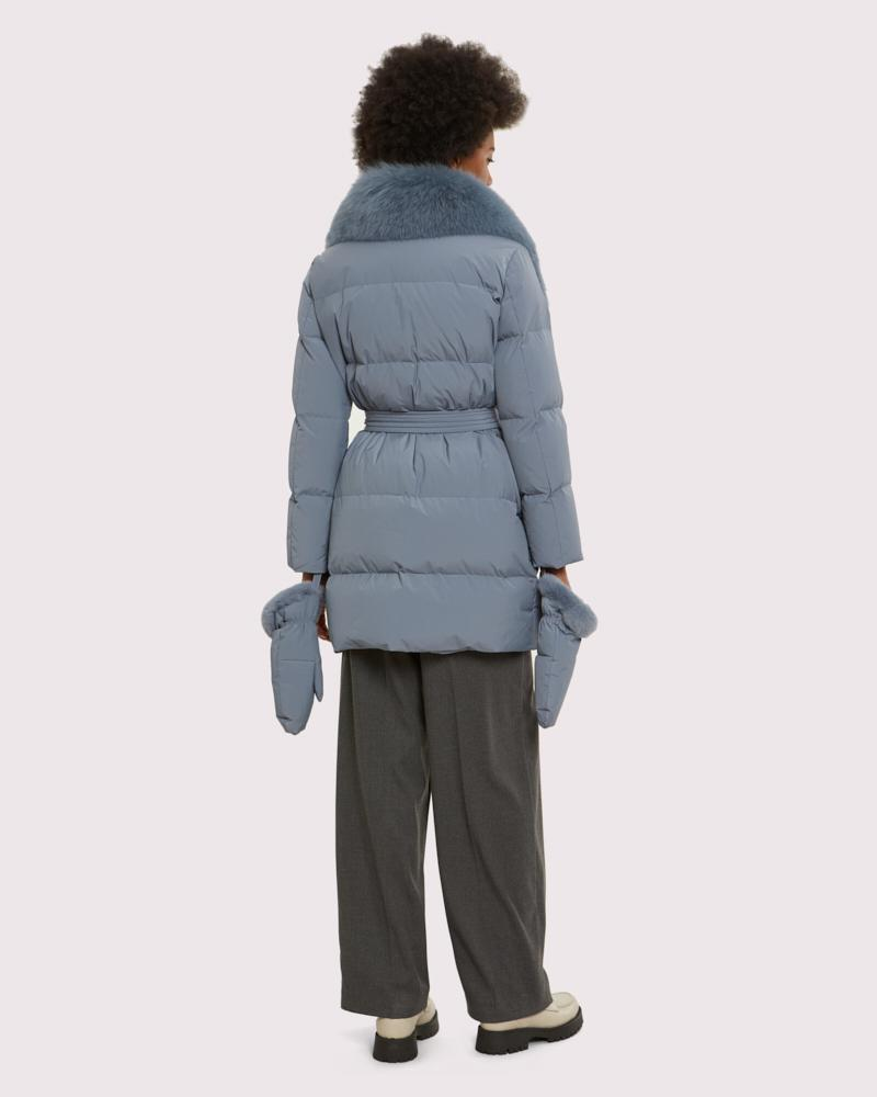 belted down jacket with fox collar 2