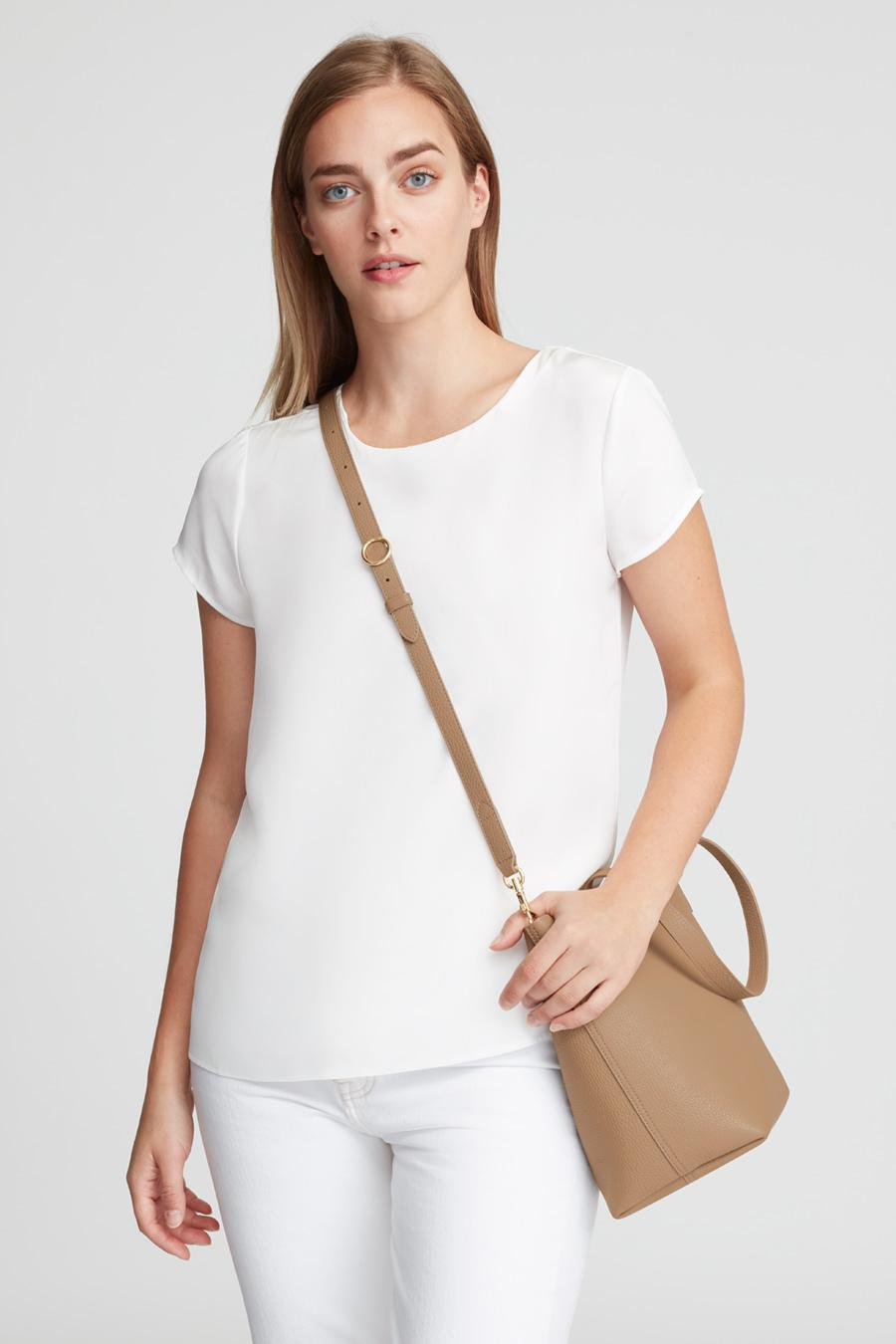 Women's Small Structured Leather Tote Bag in Cappuccino/Yellow | Pebbled Leather by Cuyana 3