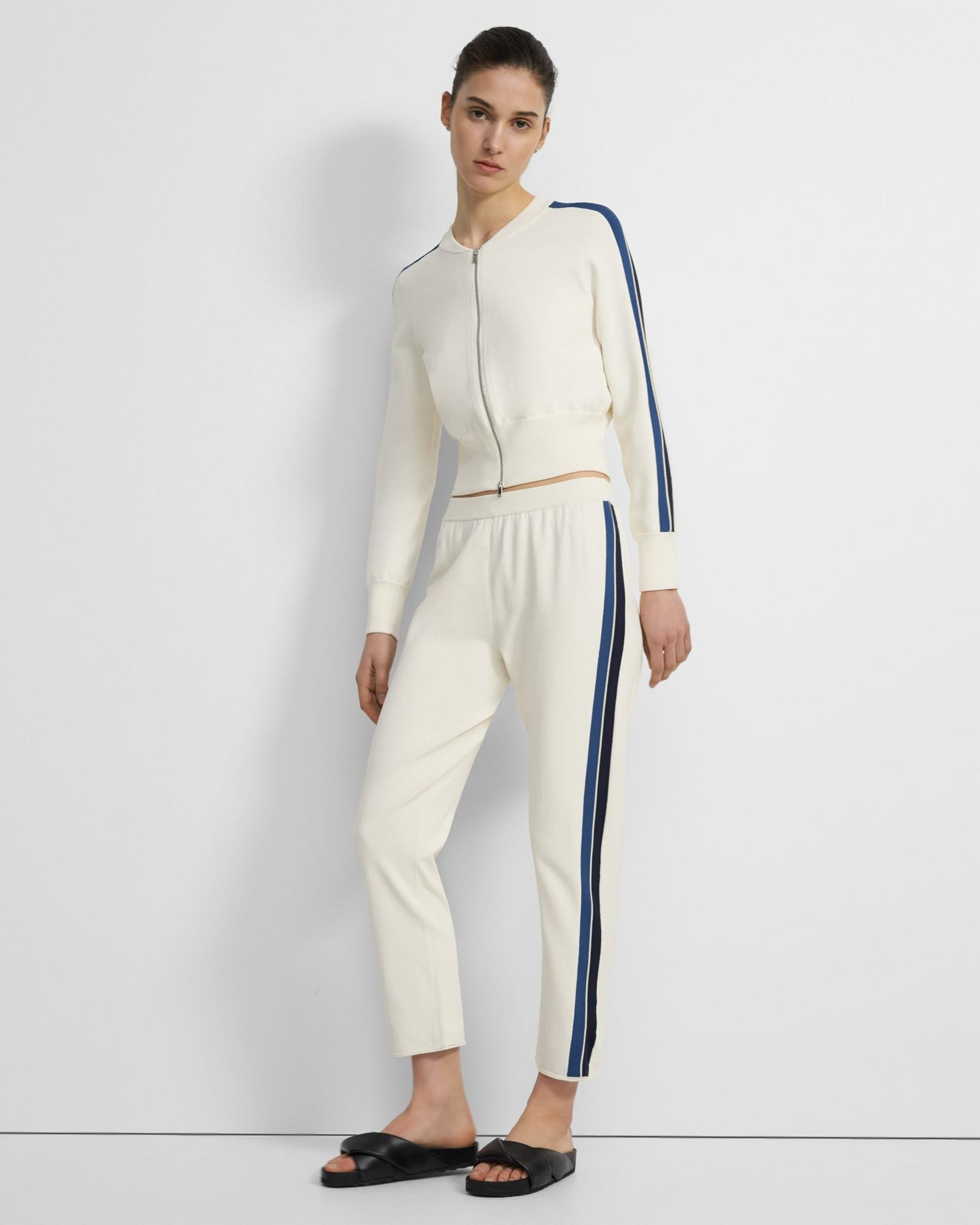 Side Stripe Pull-On Pant in Crepe Knit
