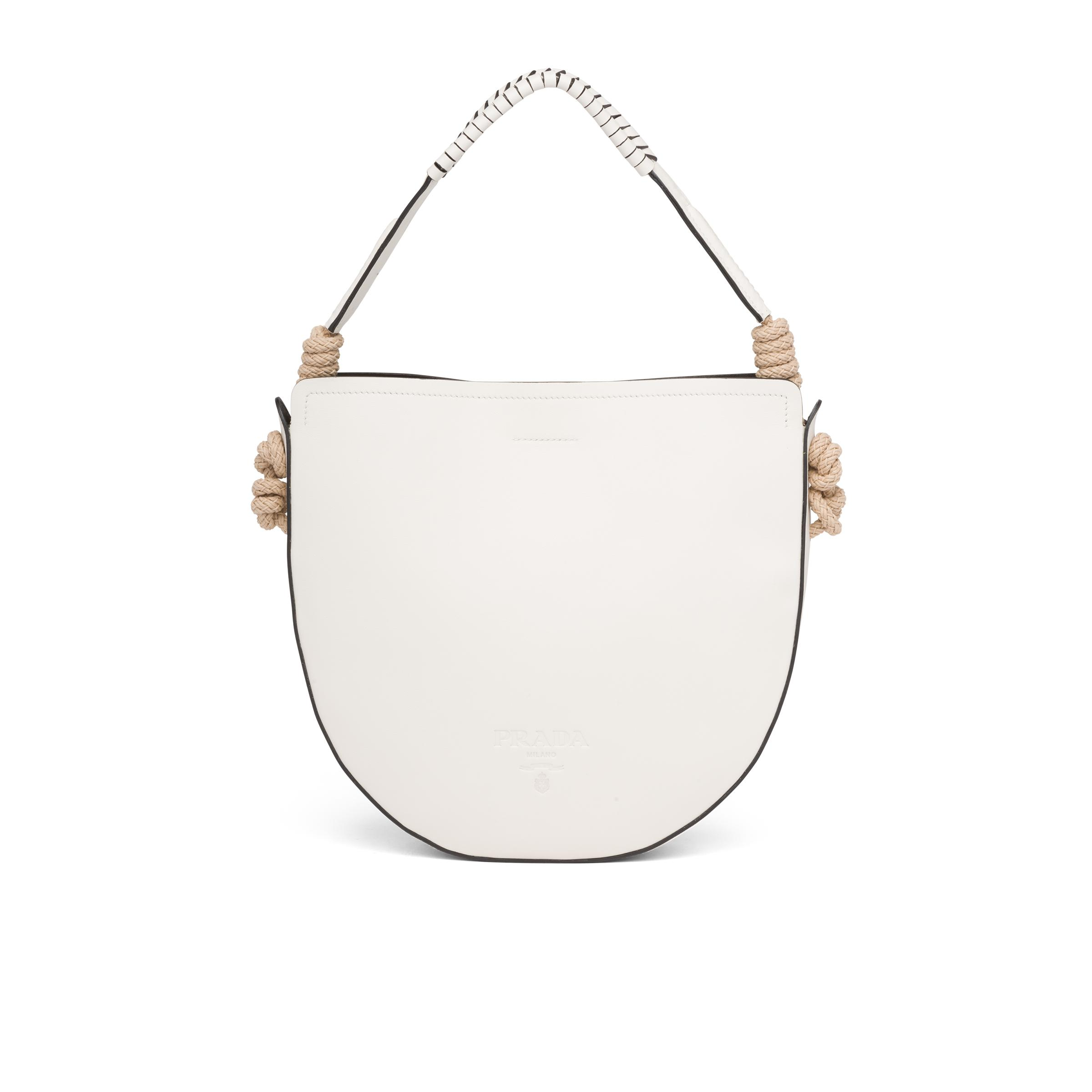 Leather Bag With Cord Details Women White/black 0