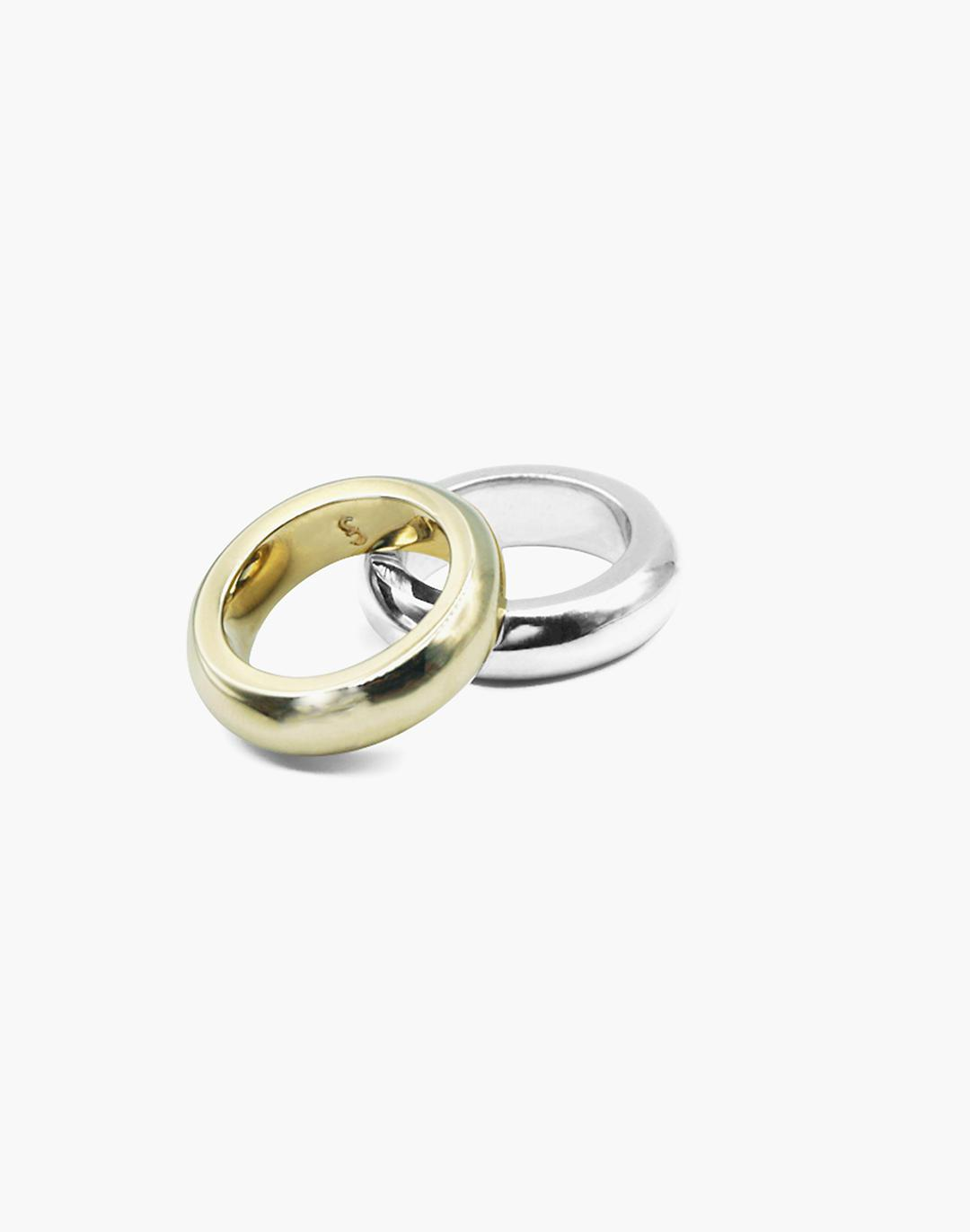 Charlotte Cauwe Studio Brass and Sterling Silver Tube Ring Set
