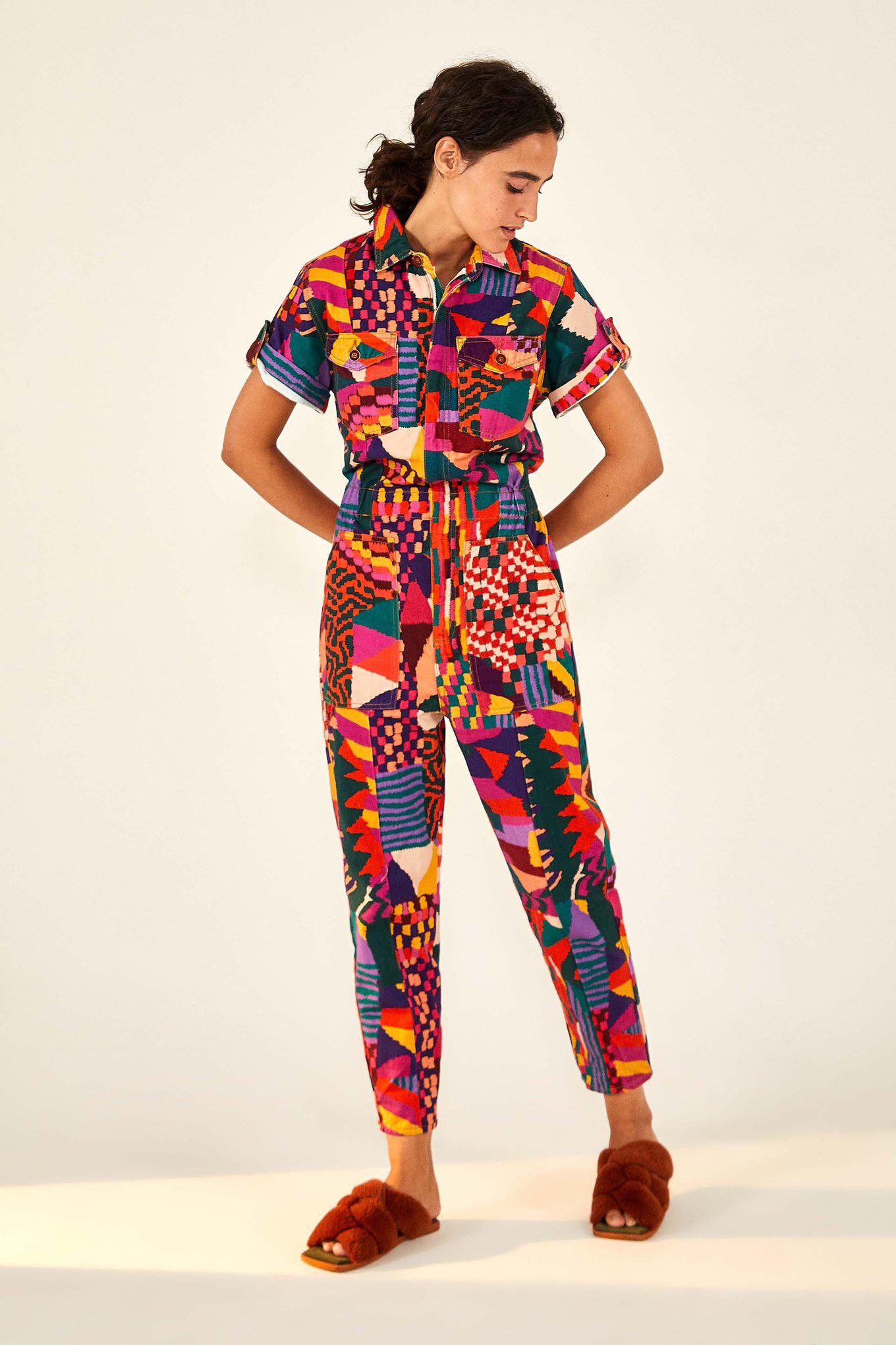 RED ABSTRACT PATCHES CANVAS JUMPSUIT