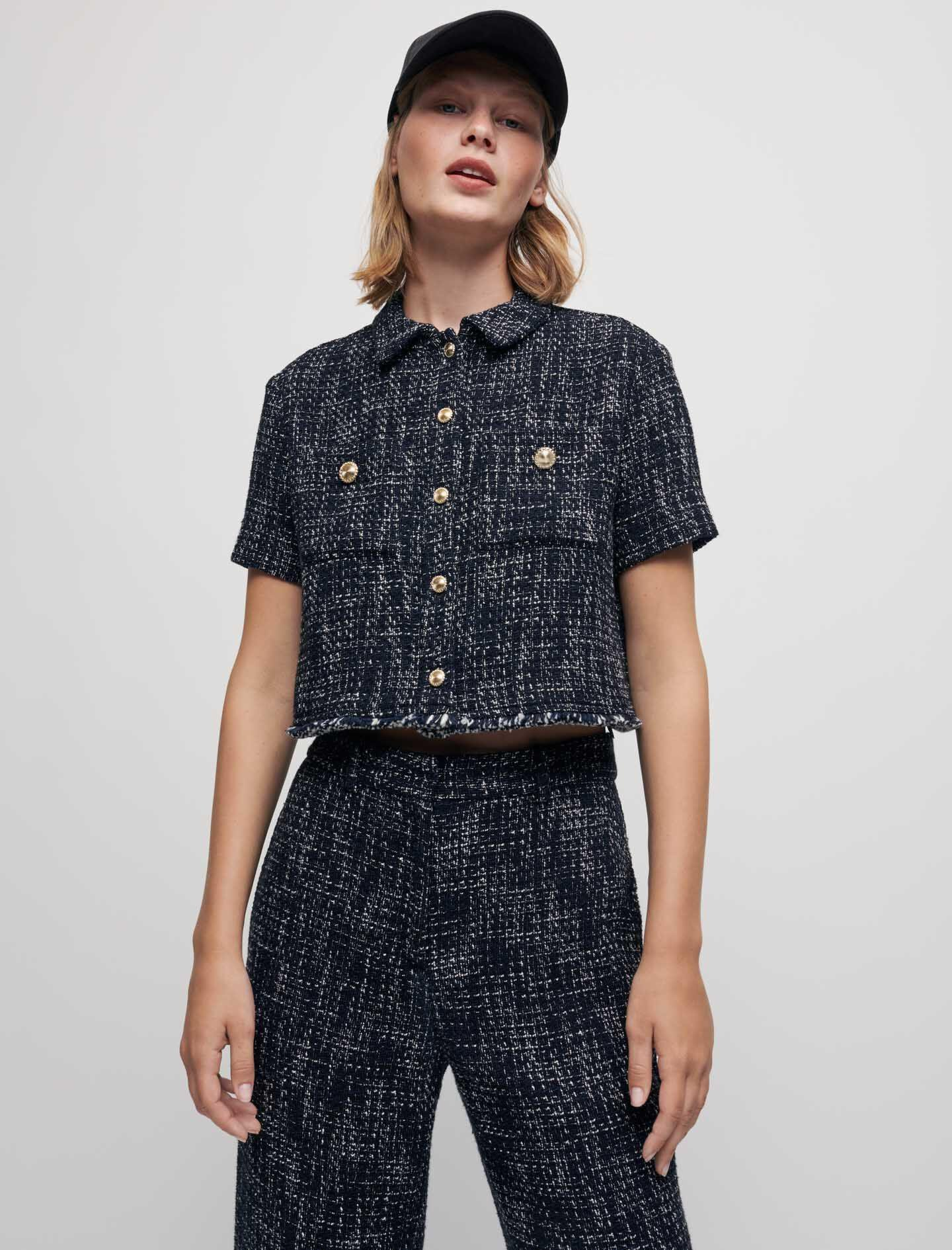 TWEED-STYLE CROPPED SHIRT