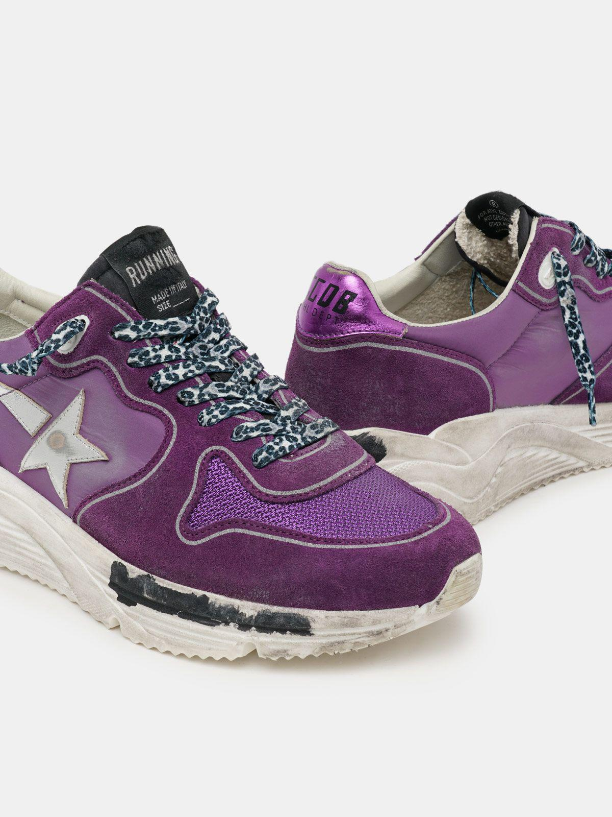Suede, leather and mesh Running Sole sneakers with metallic purple heel tab 3