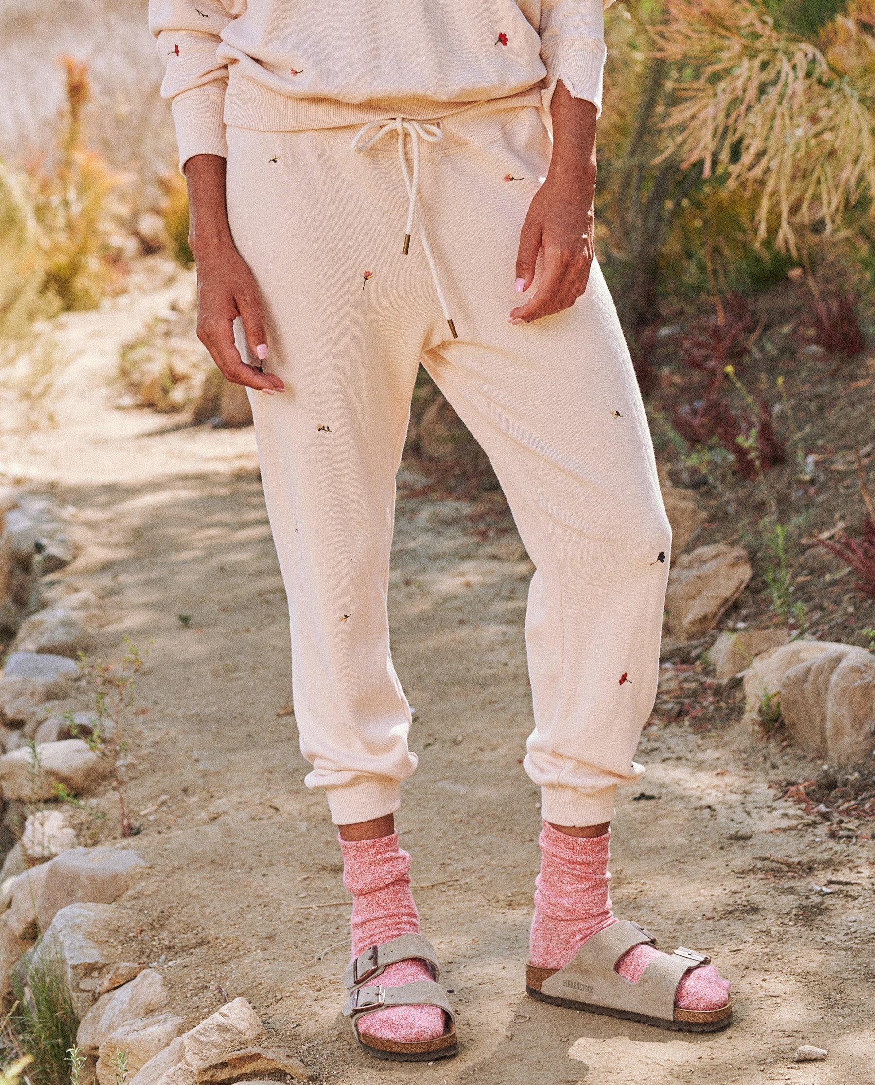 The Cropped Sweatpant. Embroidered -- Whisper Pink with Tossed Floral Embroidery 1