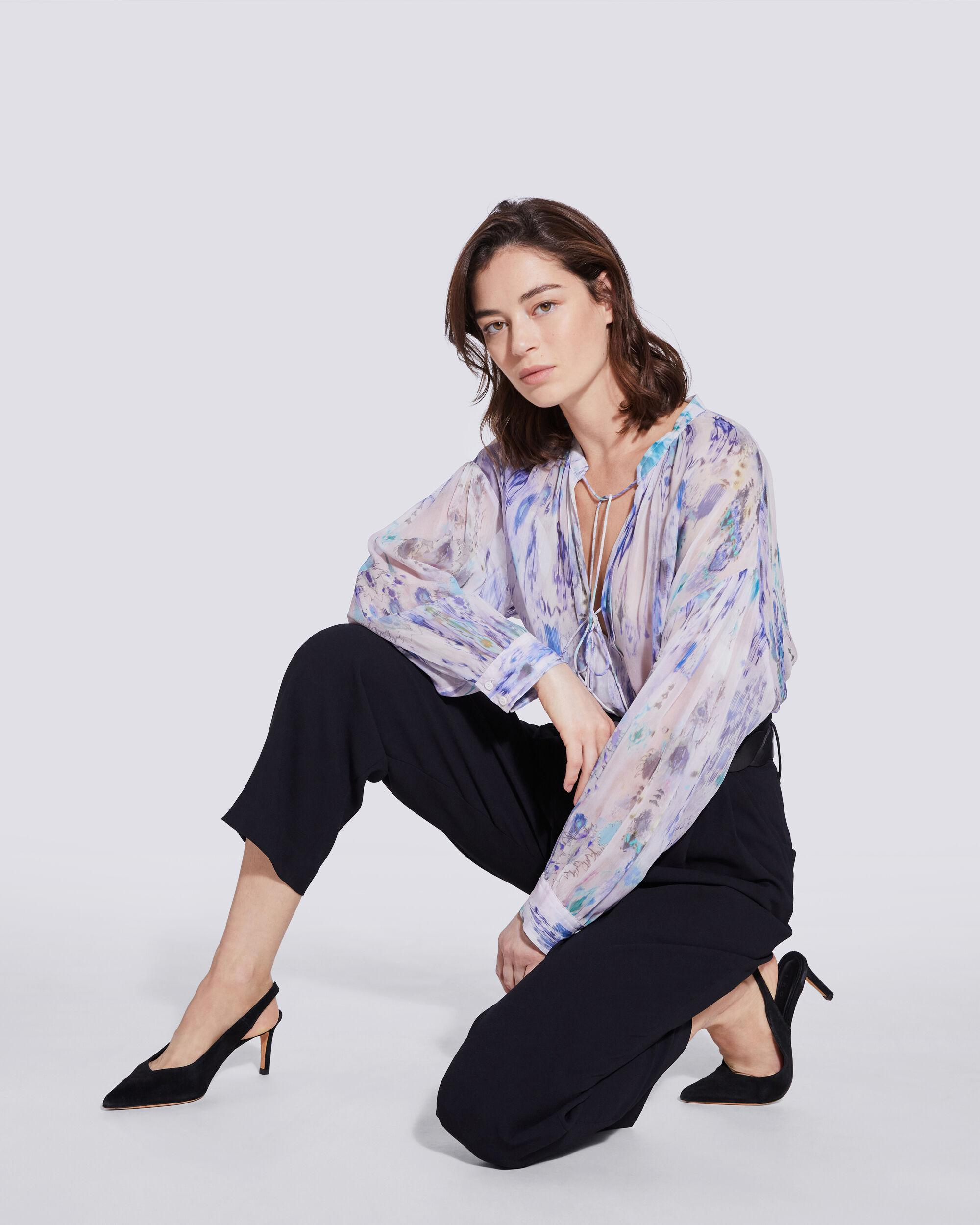 LADE TIE FRONT SHEER PRINTED BLOUSE 1