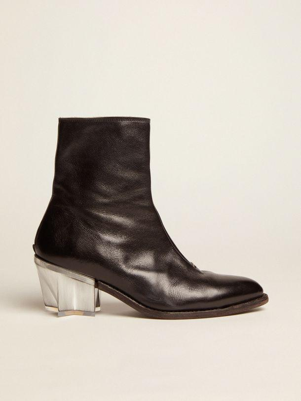 Star boots in black leather with sculptured heel with a metallic finish