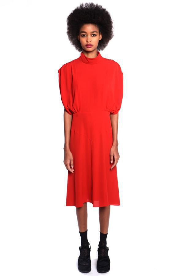 Pebble Georgette Mock Neck Dress