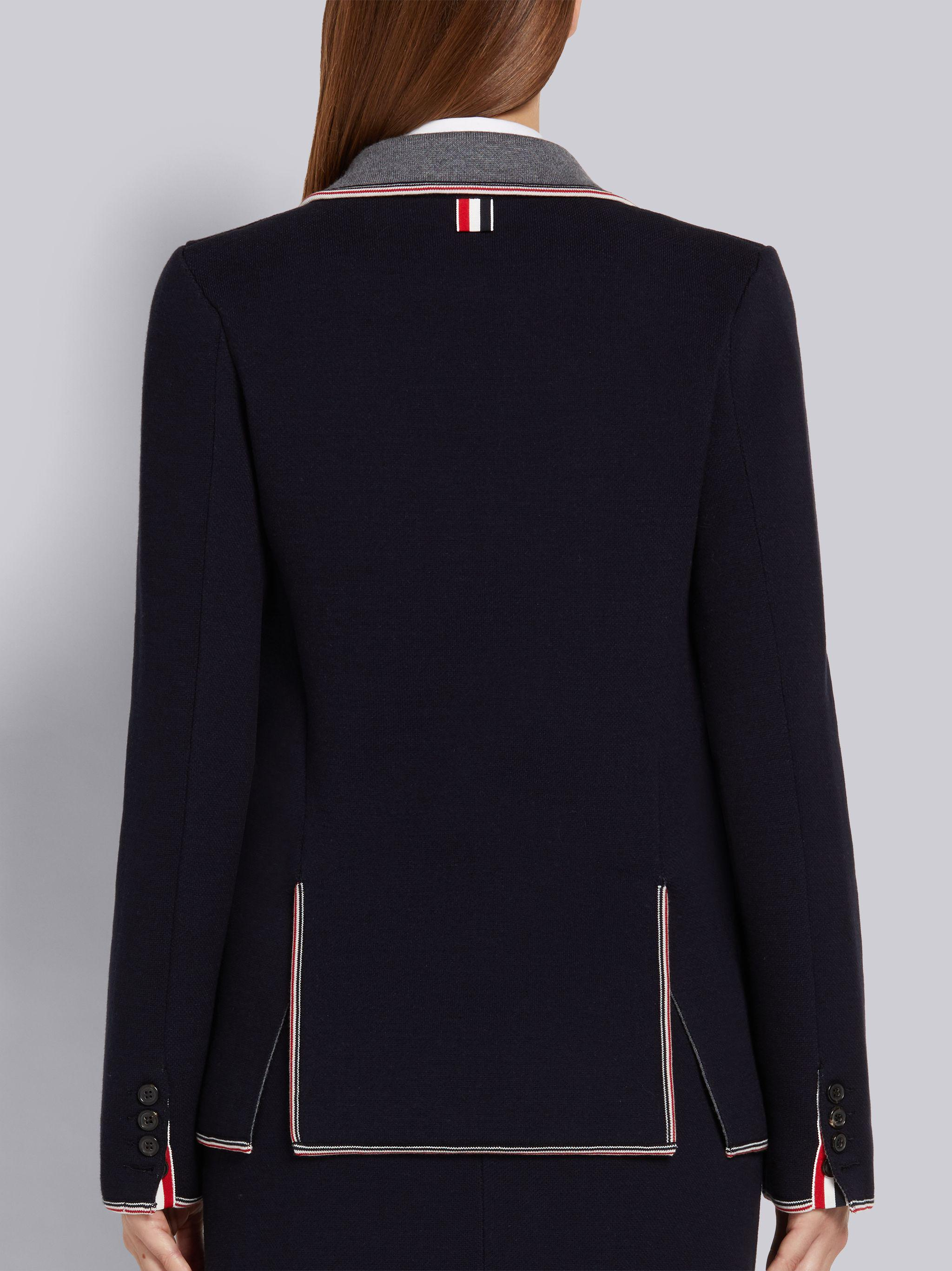 Navy Cotton and Merino Jersey Double Face Stripe Pique Tipping Sport Coat 3