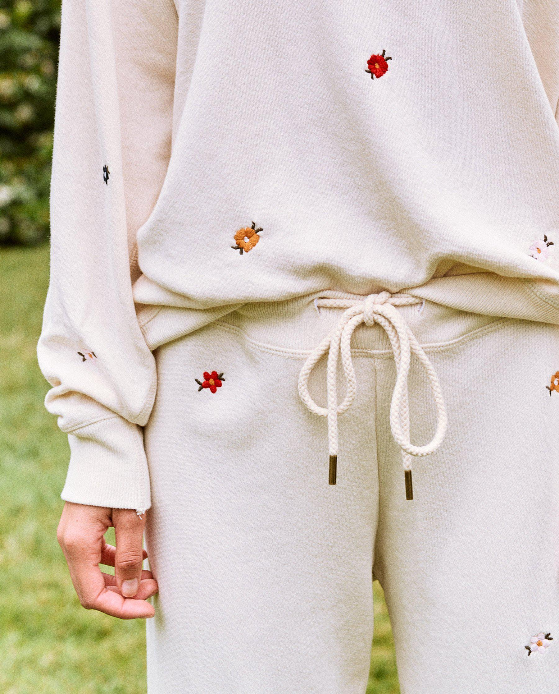 The Cropped Sweatpant. Embroidered -- Washed White with Seed Floral Embroidery 4