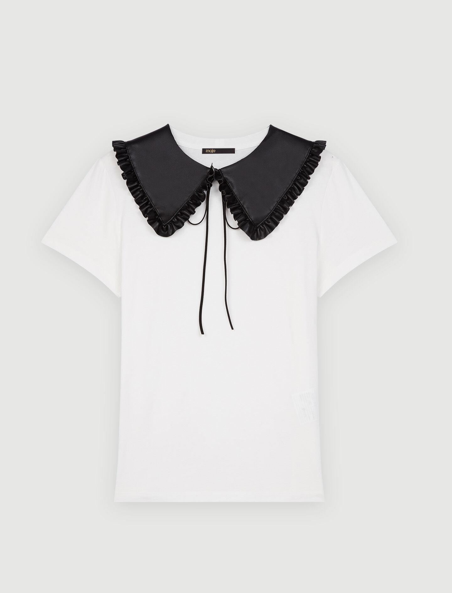 T-SHIRT WITH REMOVABLE LEATHER COLLAR 4