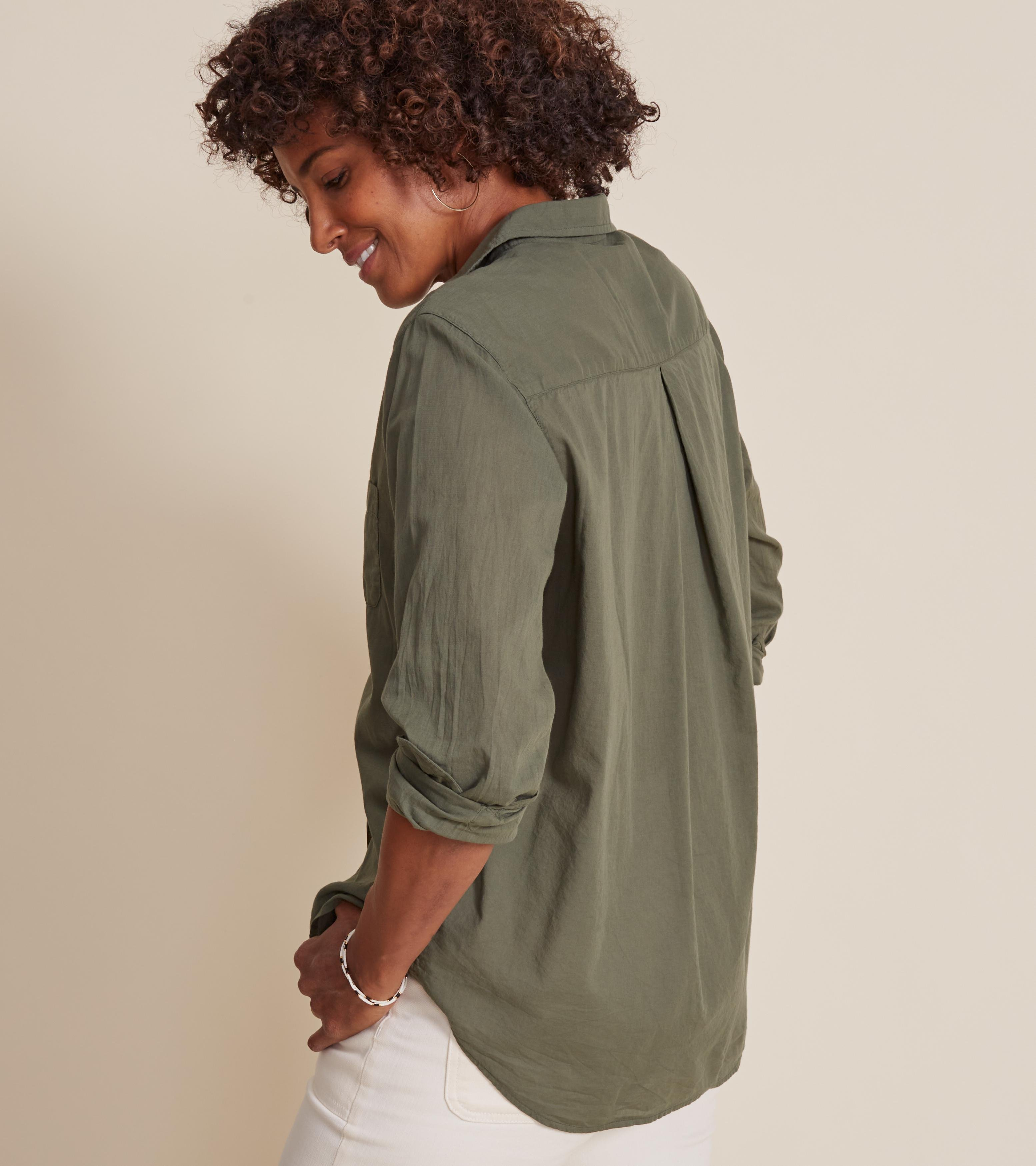 The Hero Button-Up Shirt Army Green, Tissue Cotton 2