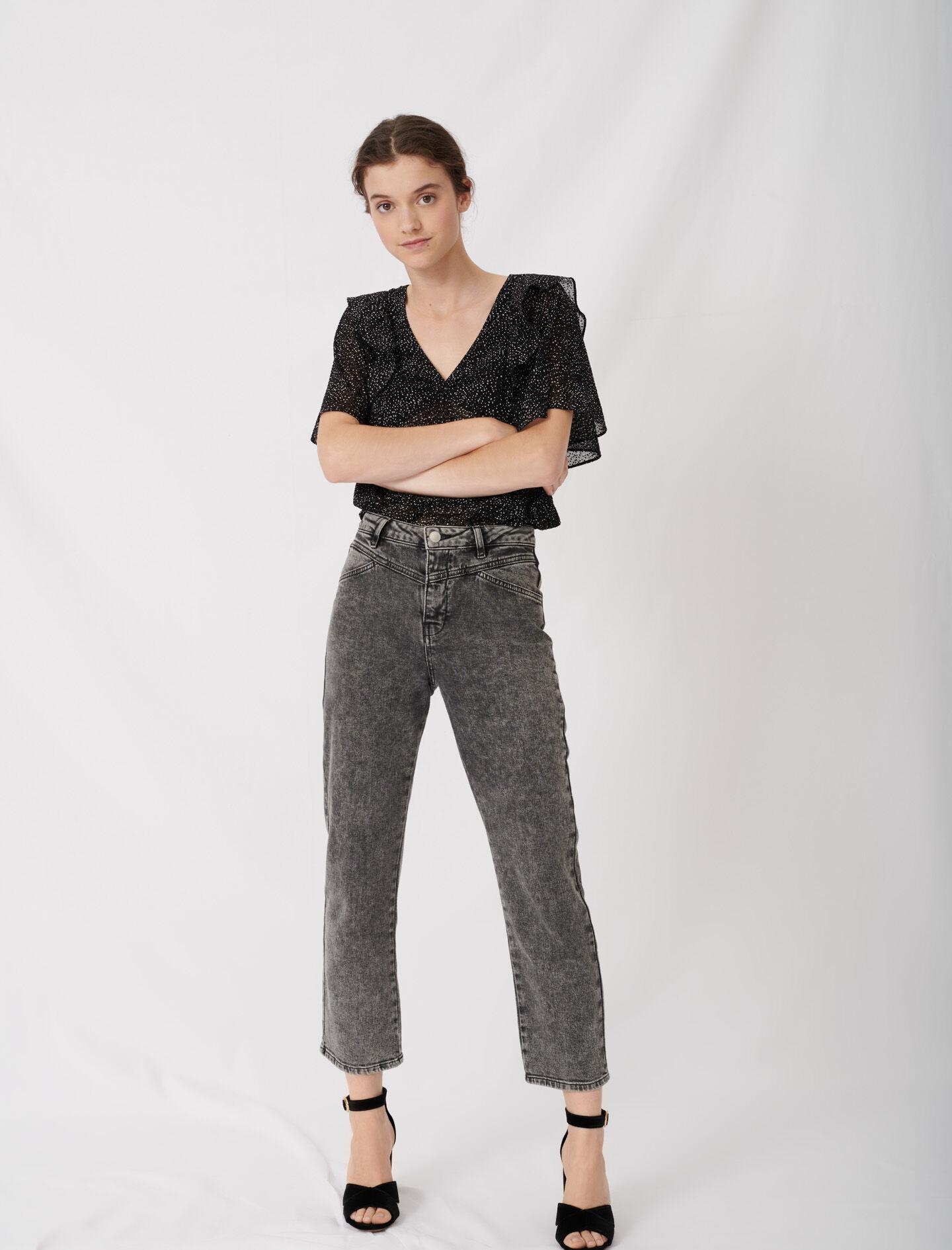 HIGH-RISE FADED JEANS