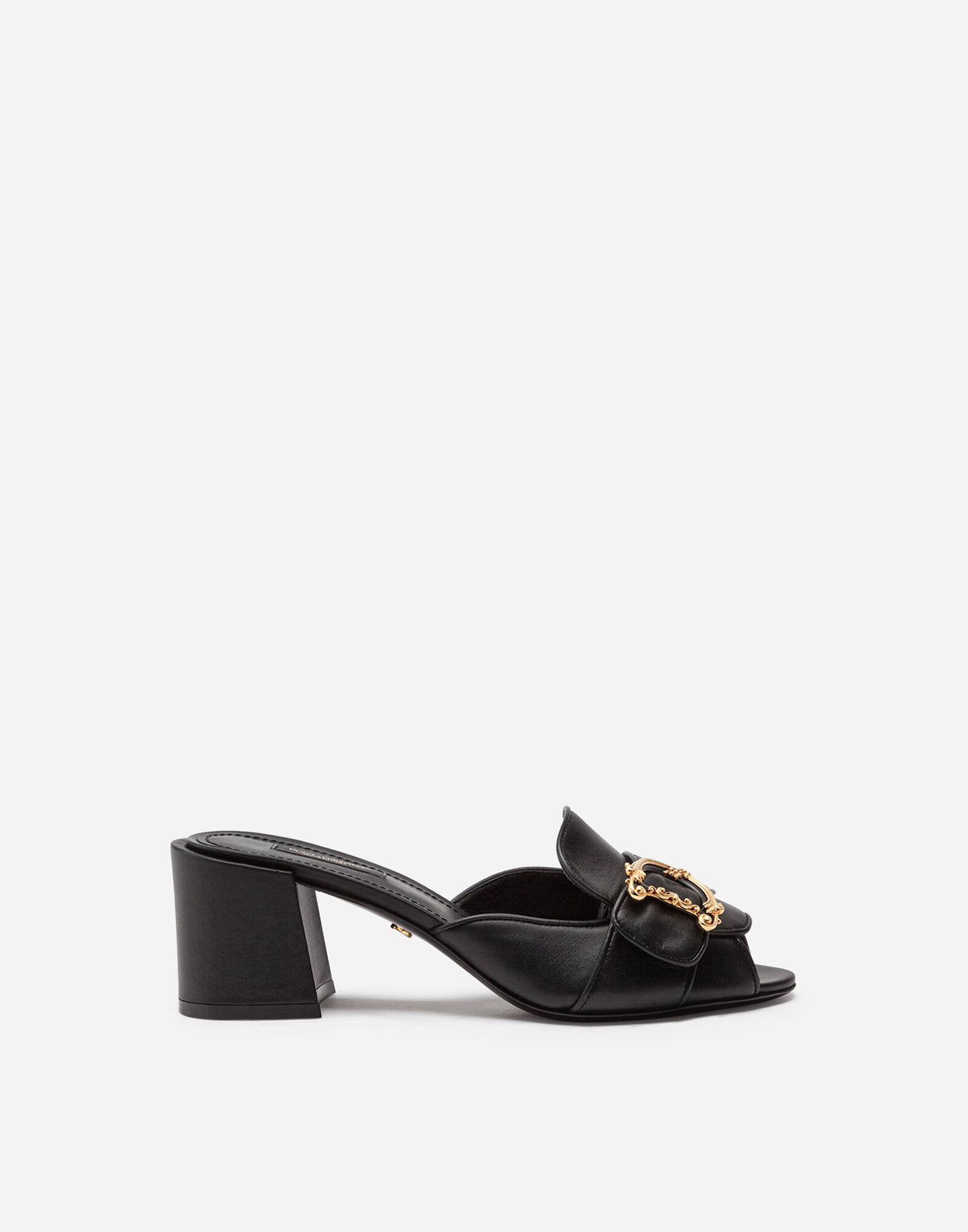 Nappa leather sliders with baroque DG