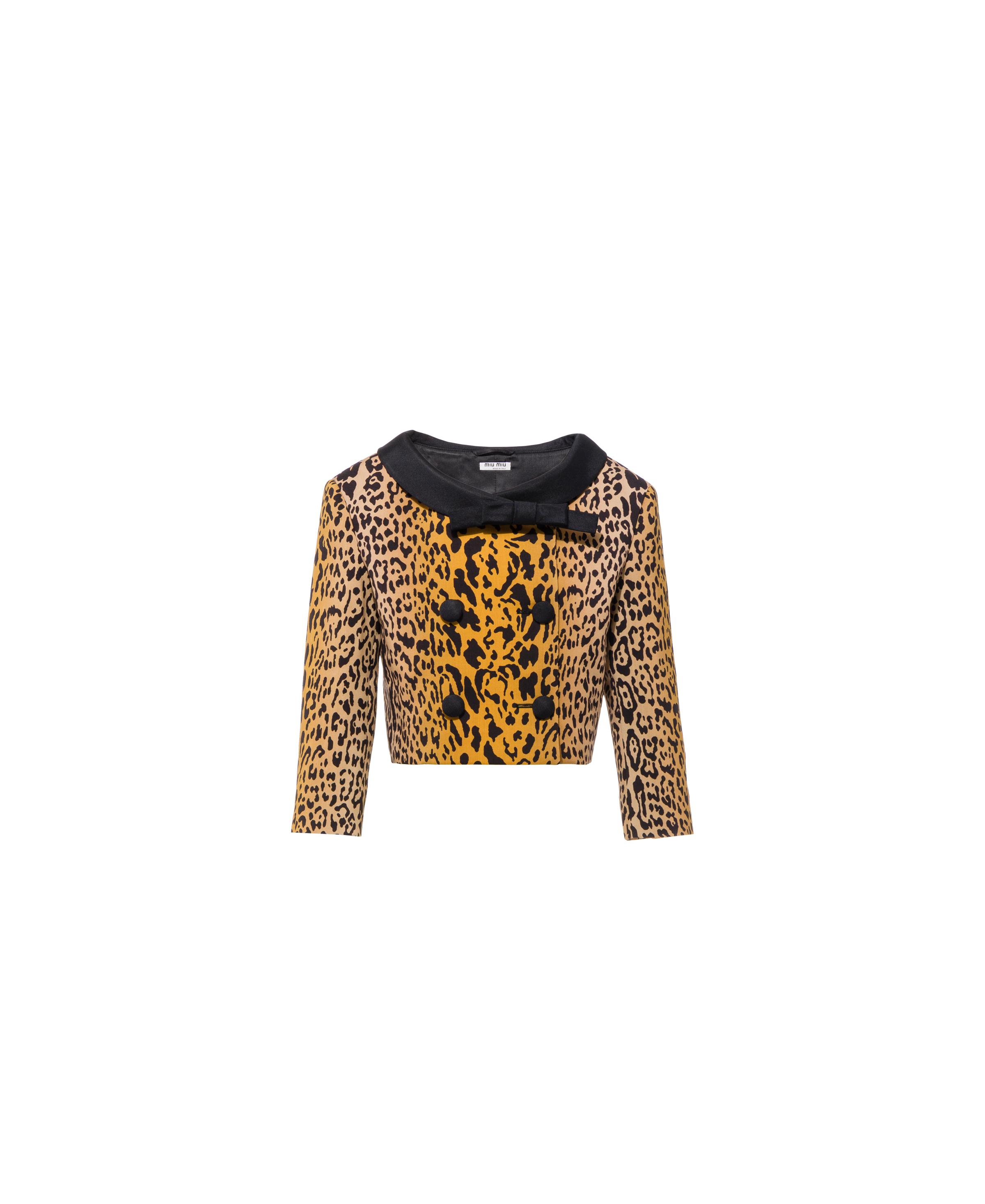 Double-breasted Printed Mohair Wool Jacket Women Khaki
