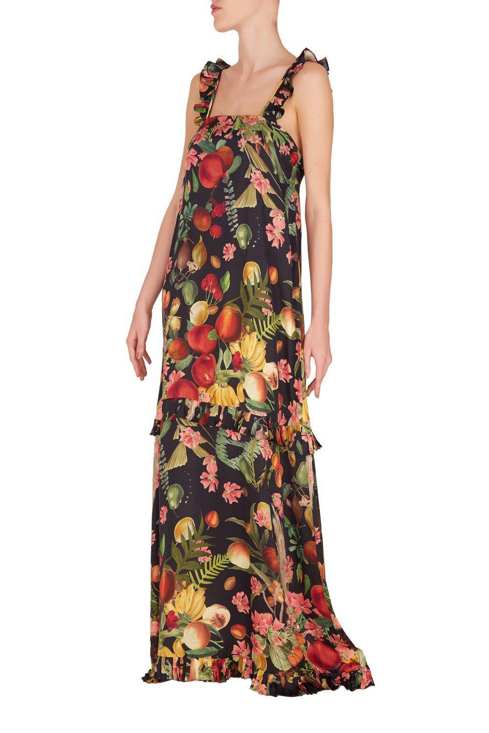 Fruits Exotiques Maxi Long Dress with Frills