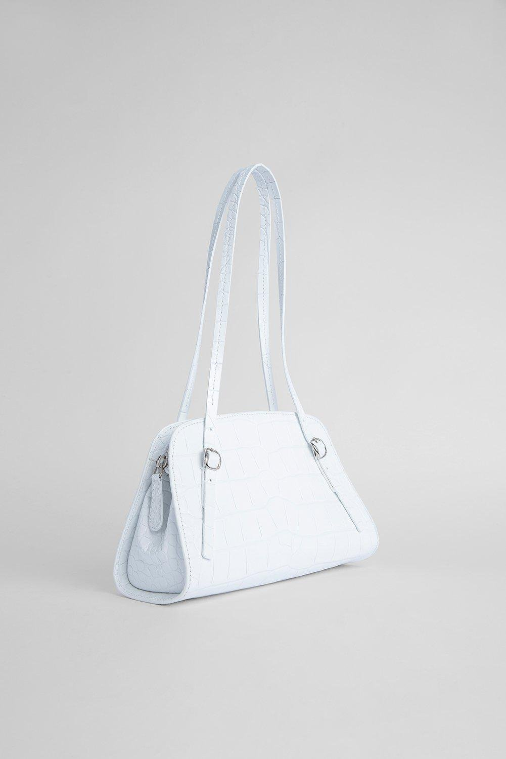 Lora White Croco Embossed Leather 1