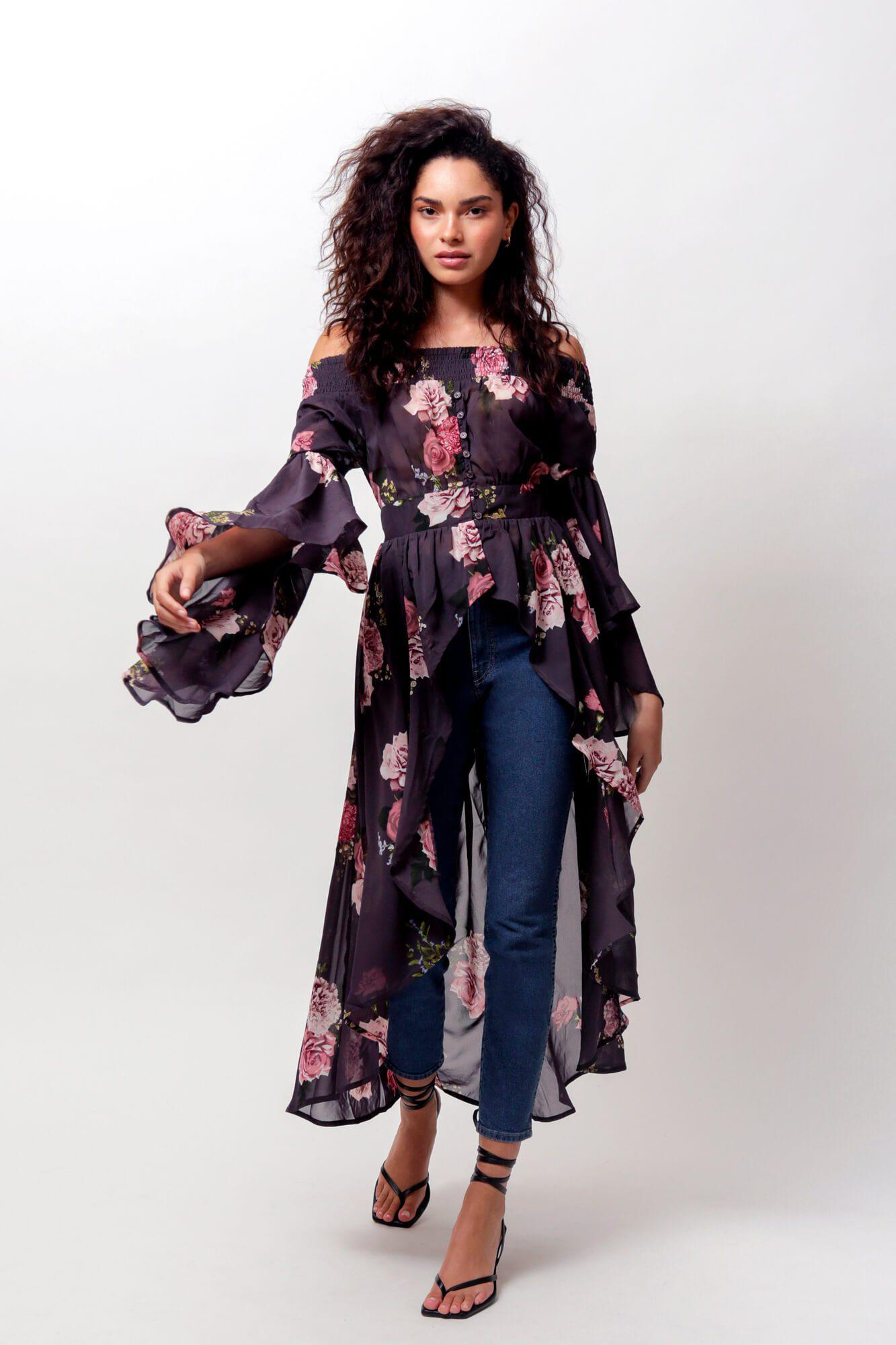 Romance Off The Shoulder Duster