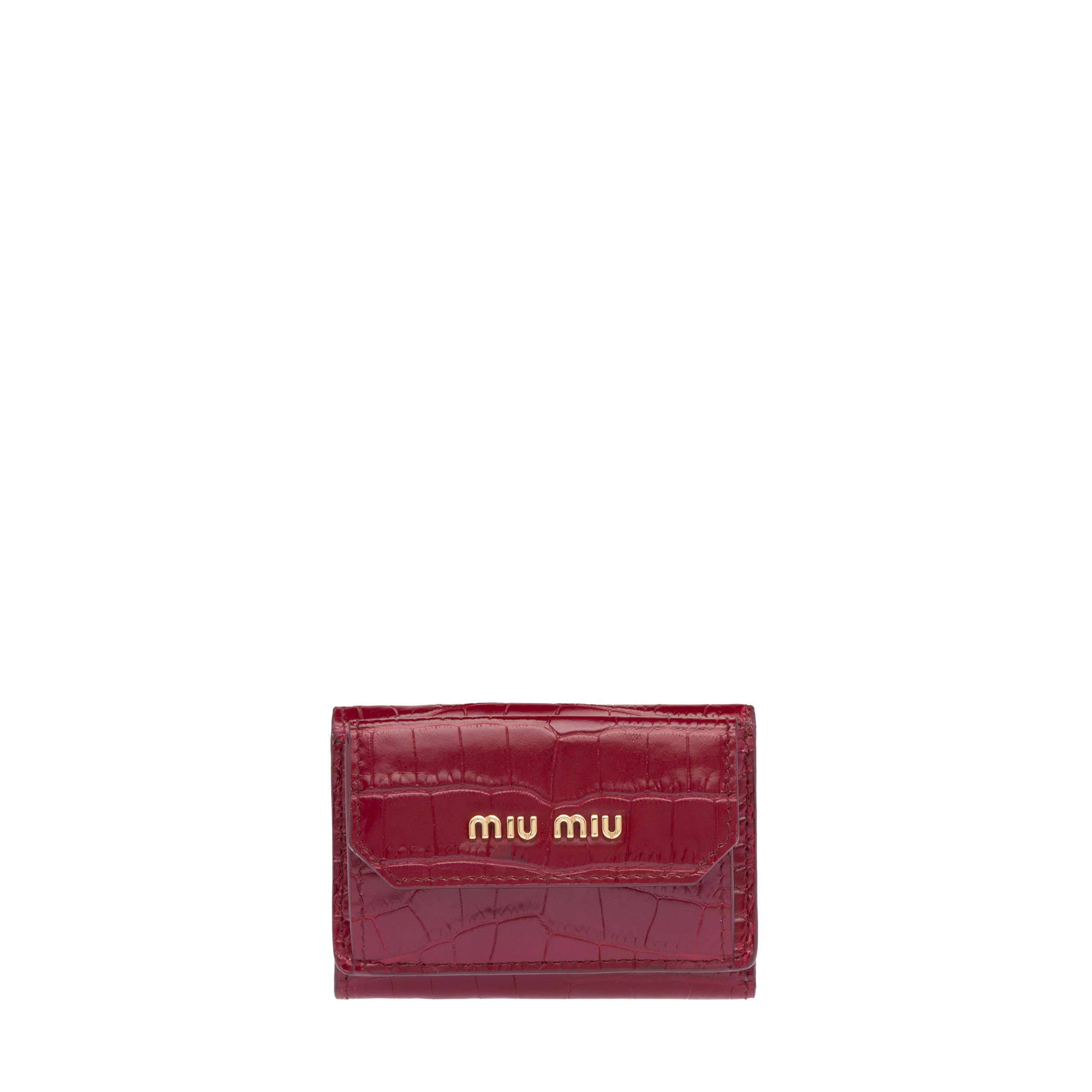 Small Croco-printed Leather Wallet Women Ruby Red