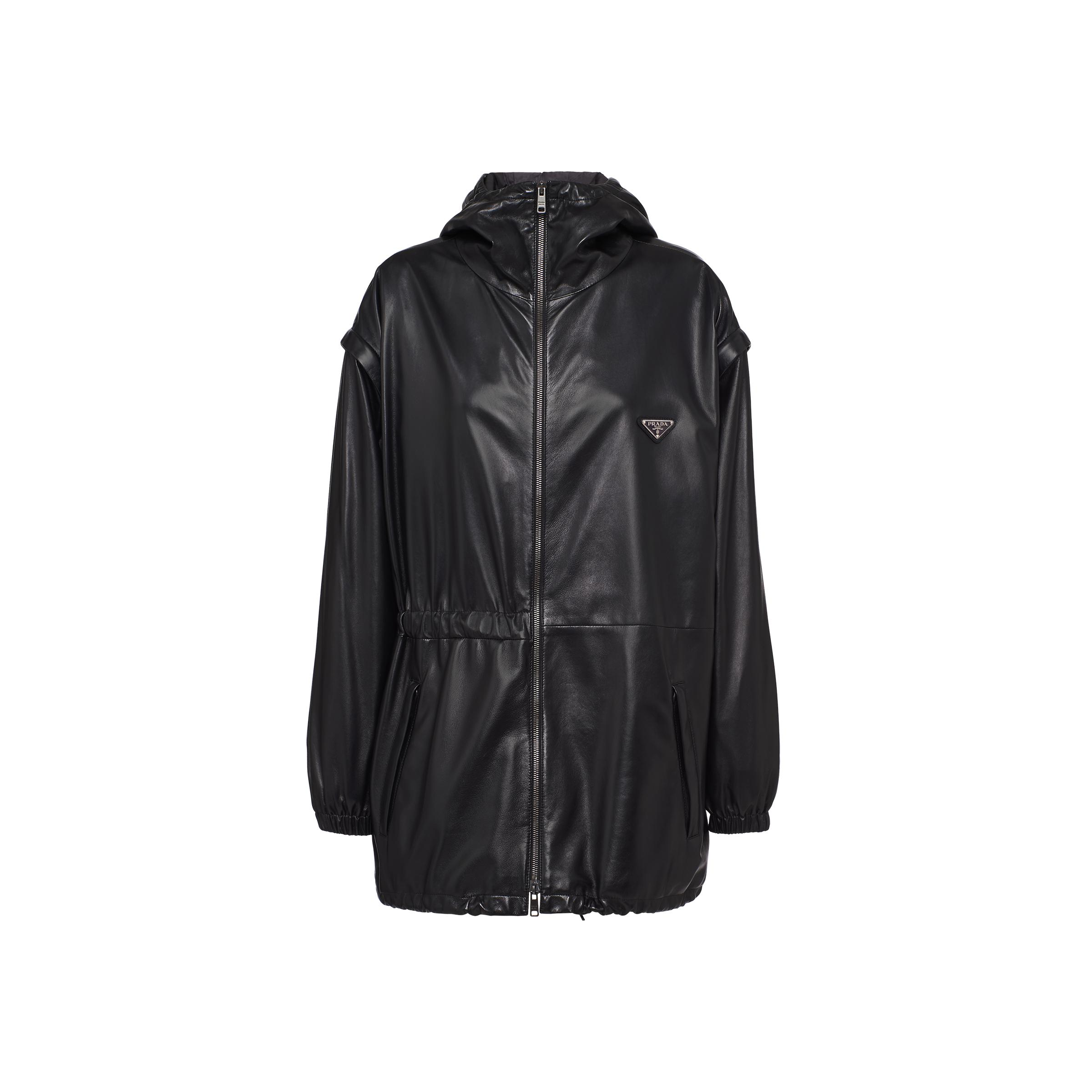 Nappa Leather Jacket With Detachable Sleeves Women Black