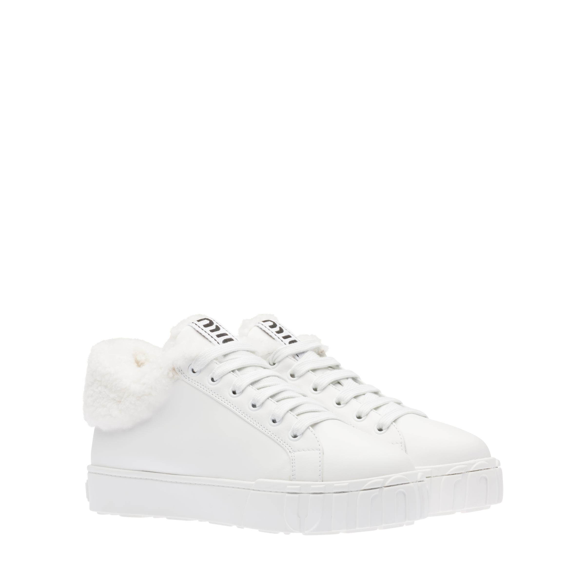 Leather High-top Sneakers Women White