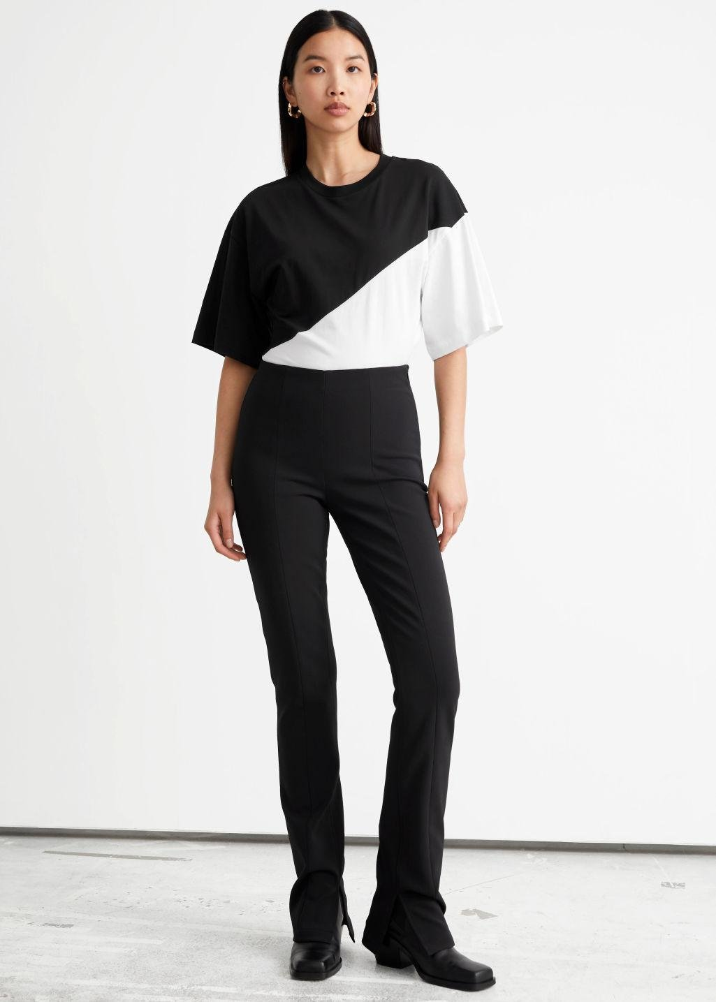 Fitted Slit-Hem Trousers