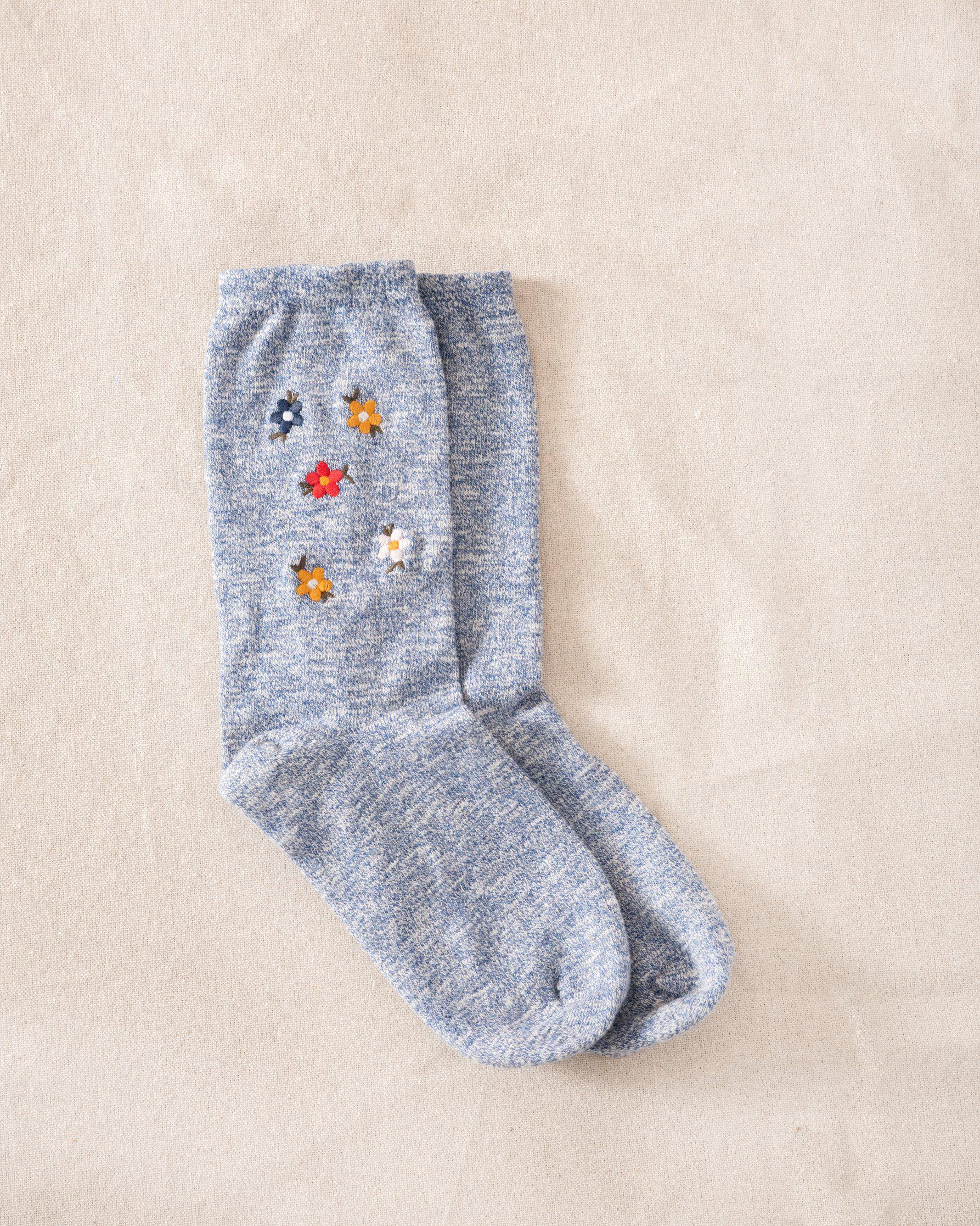 The Great Floral Embroidered Sock. -- Blue with Multi Floral Embroidery