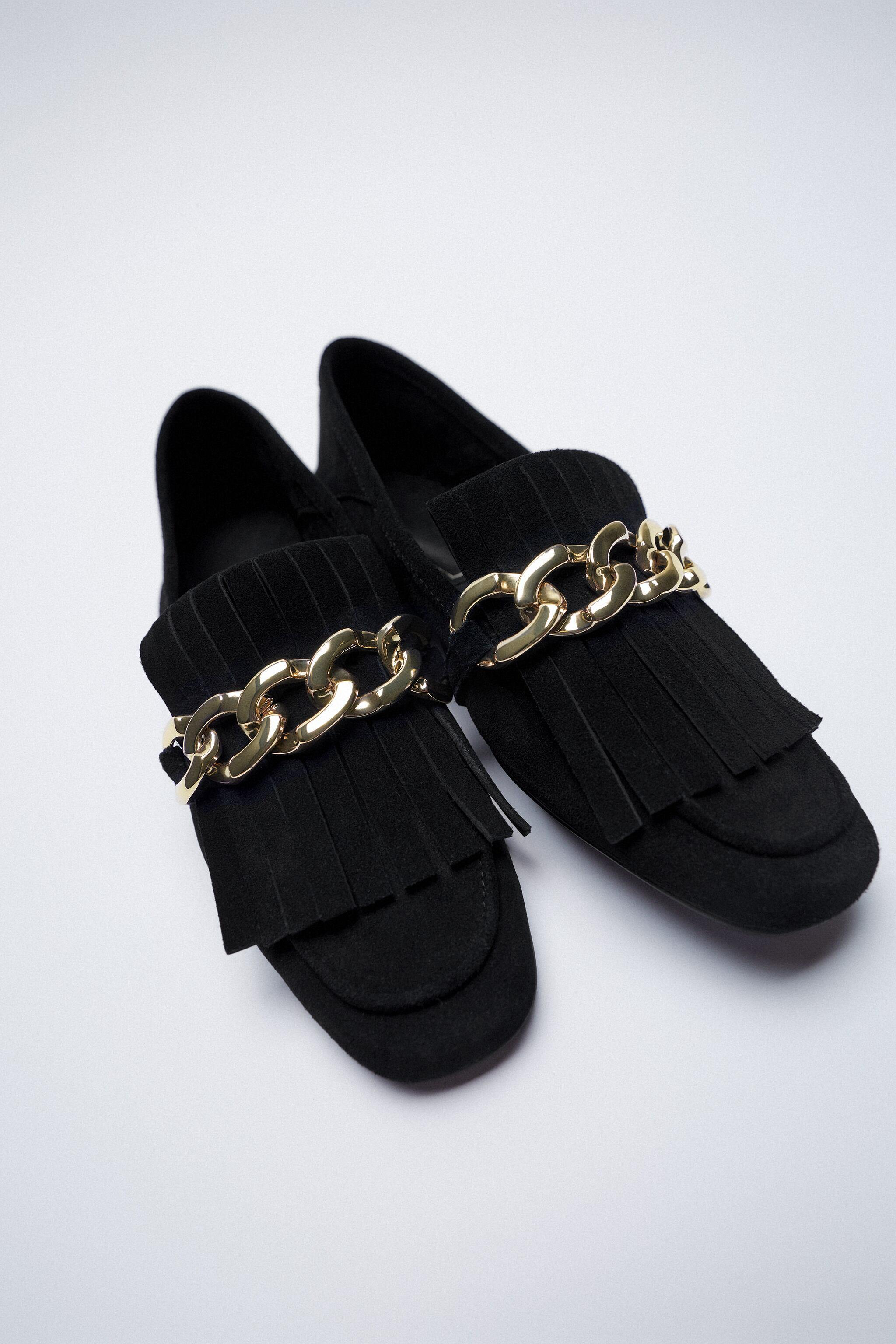 FRINGED SPLIT LEATHER MOCCASINS WITH CHAIN 6