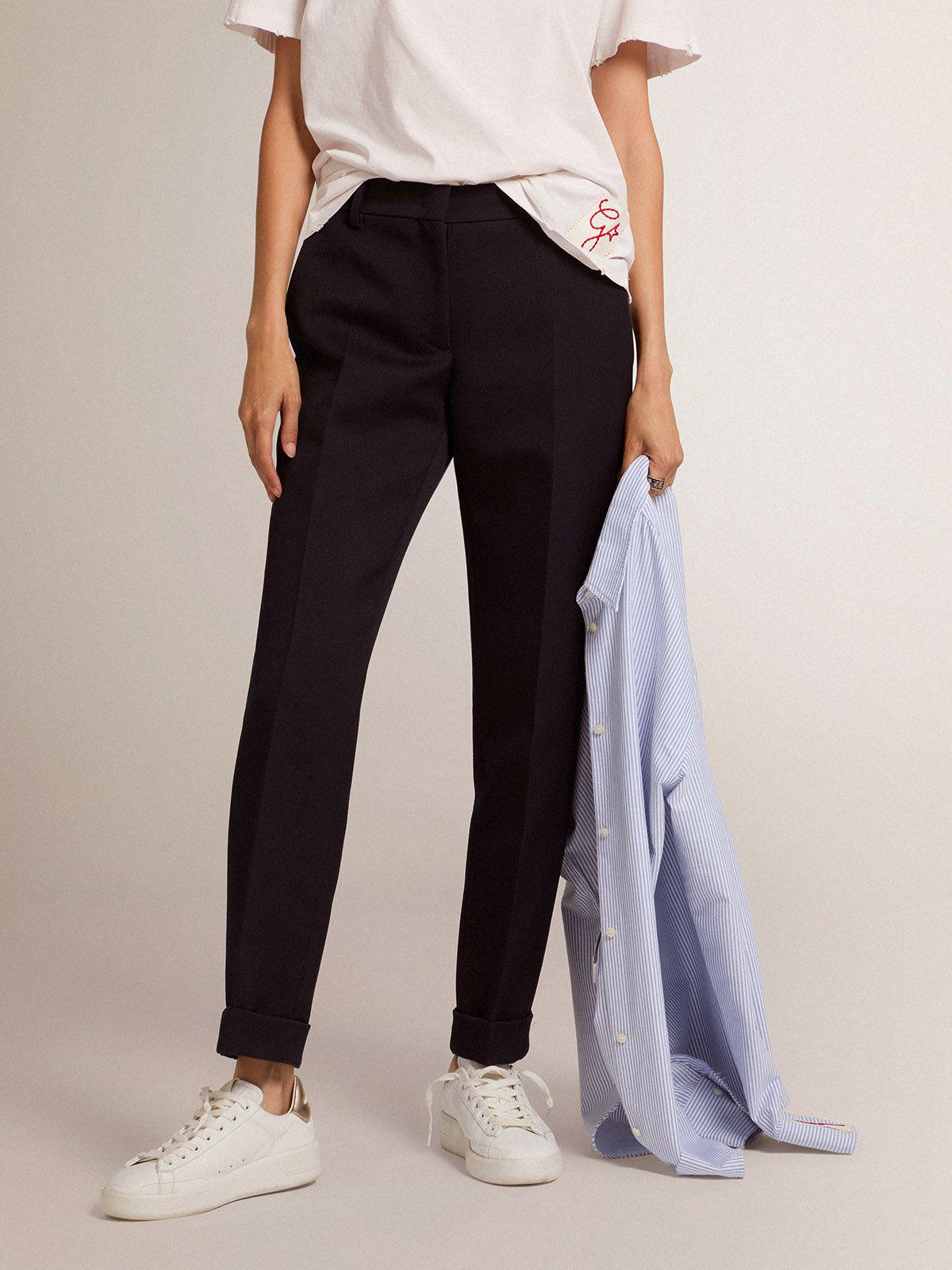 Golden Collection cigarette pants in dark blue wool