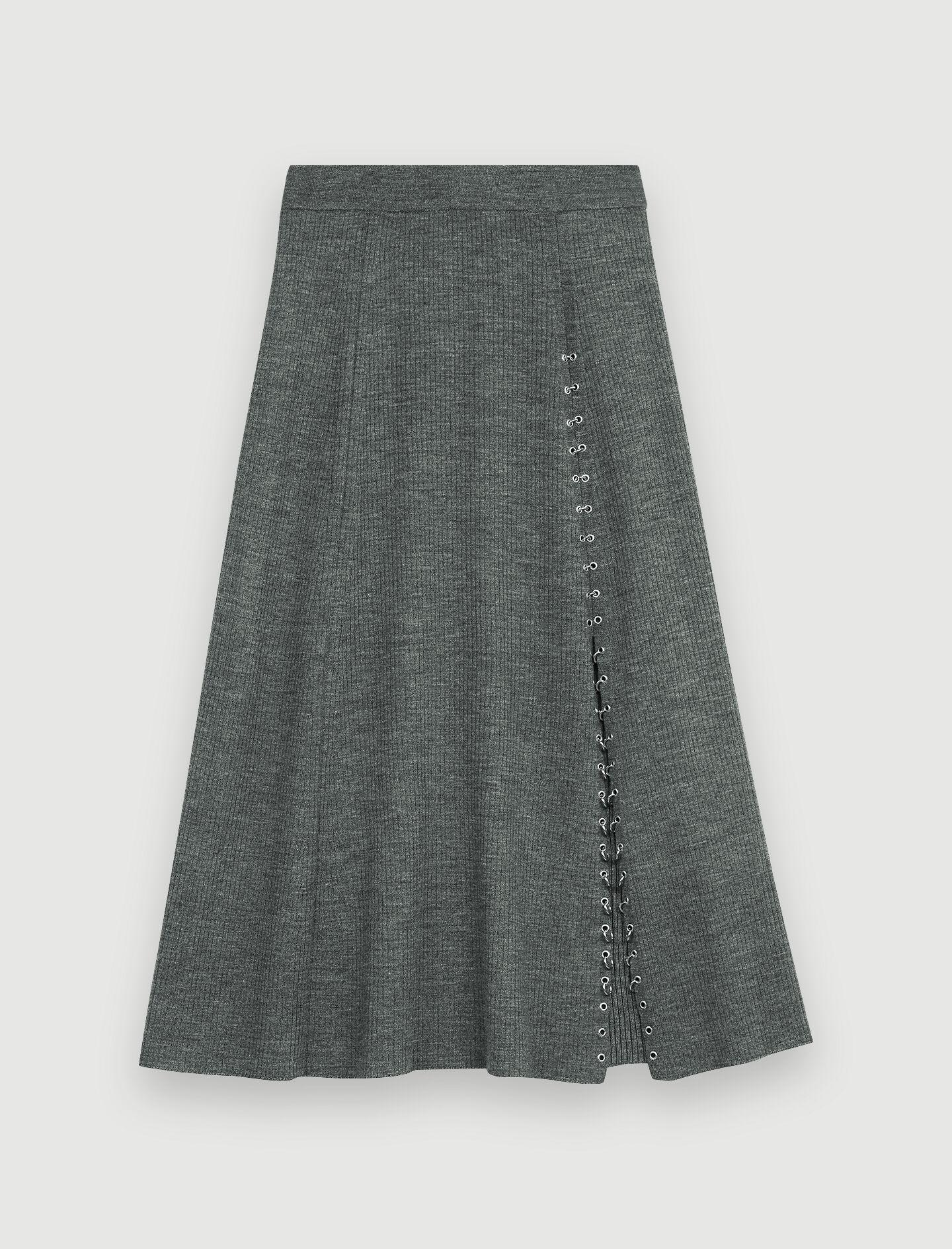 KNITTED SLIT SKIRT WITH PIERCINGS 4