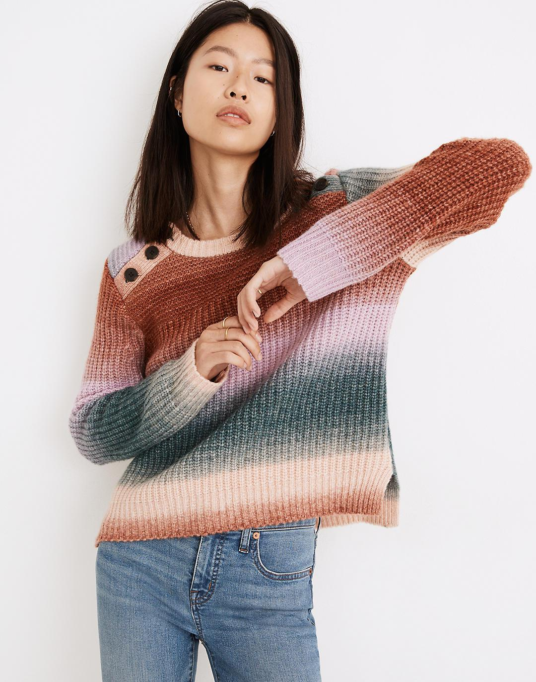 Space-Dyed Button-Shoulder Pullover Sweater
