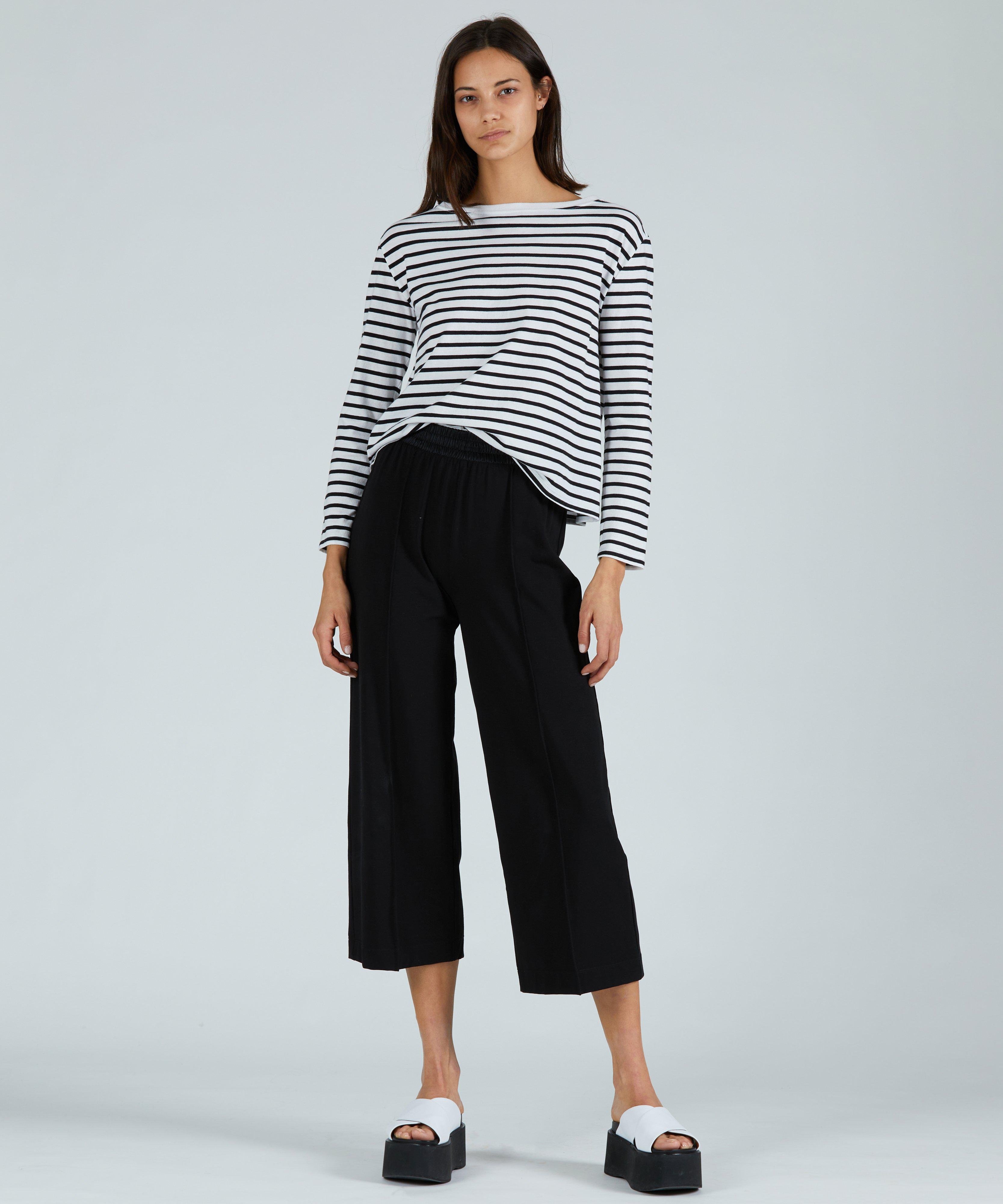 Pima Cotton Cropped Pull-On Pant - Black 3