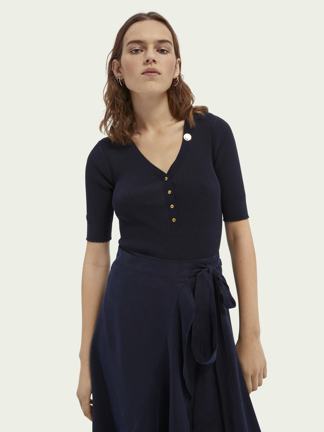 Short-sleeved ribbed cotton top
