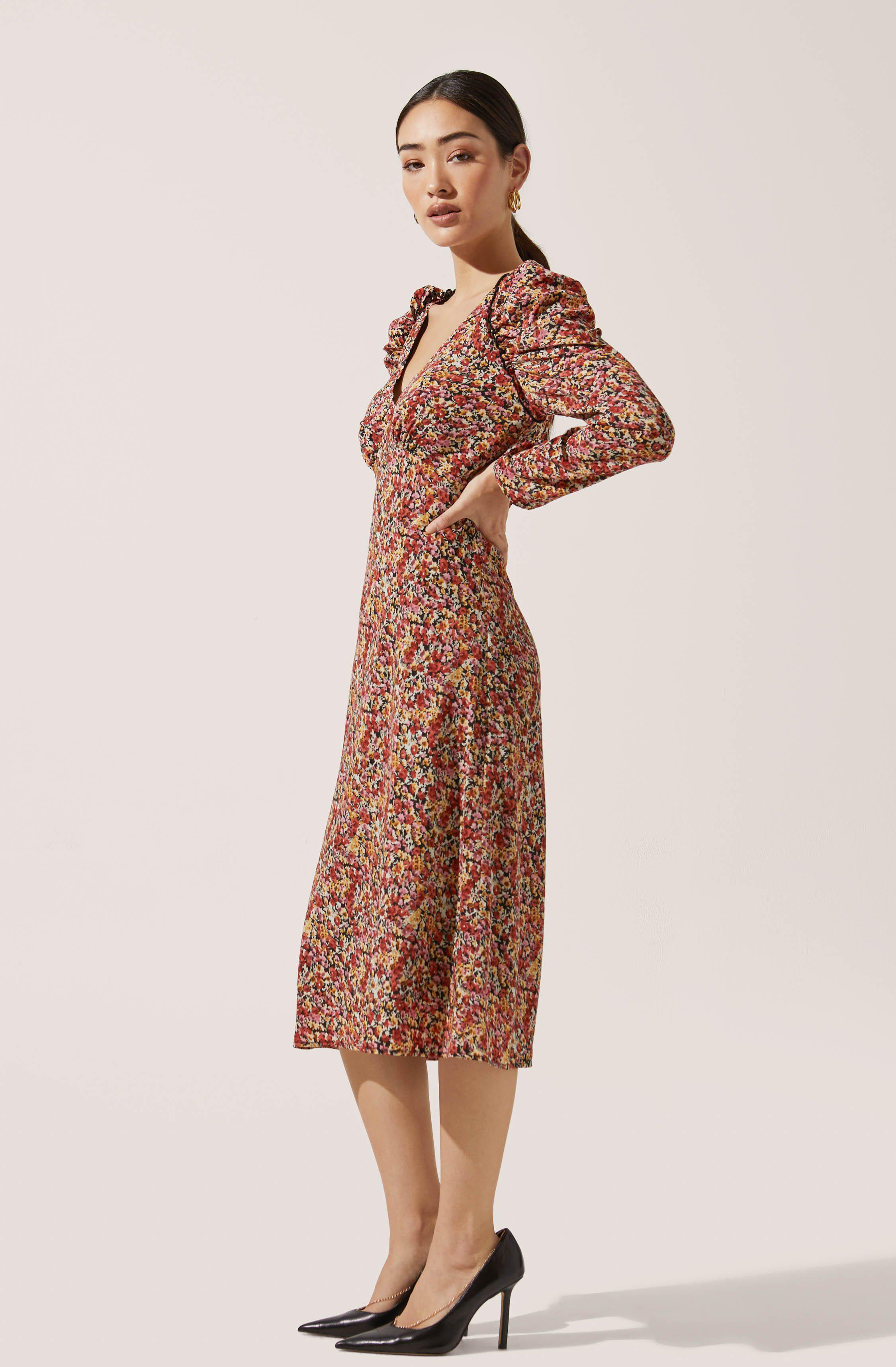 Ruched Sleeve Floral Midi 2