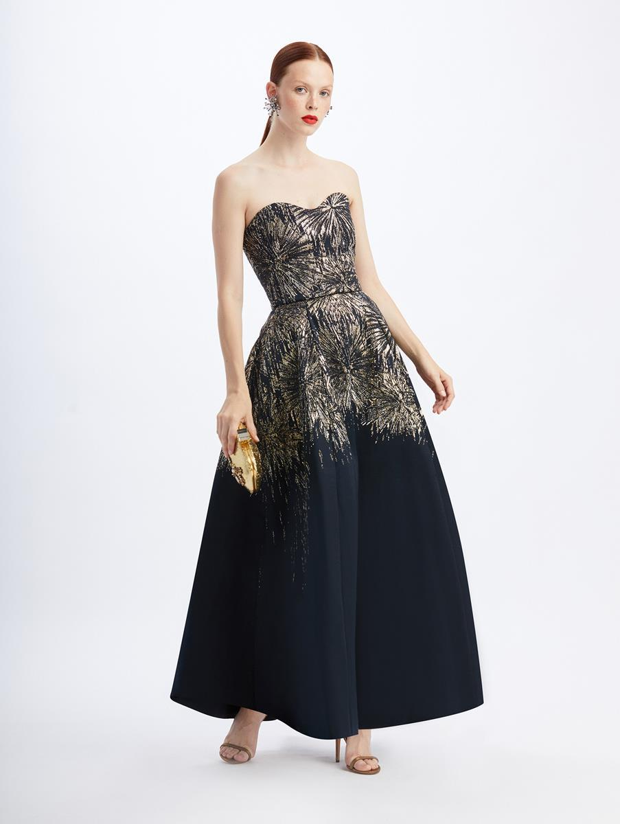 STRAPLESS JACQUARD FIREWORKS GOWN 3