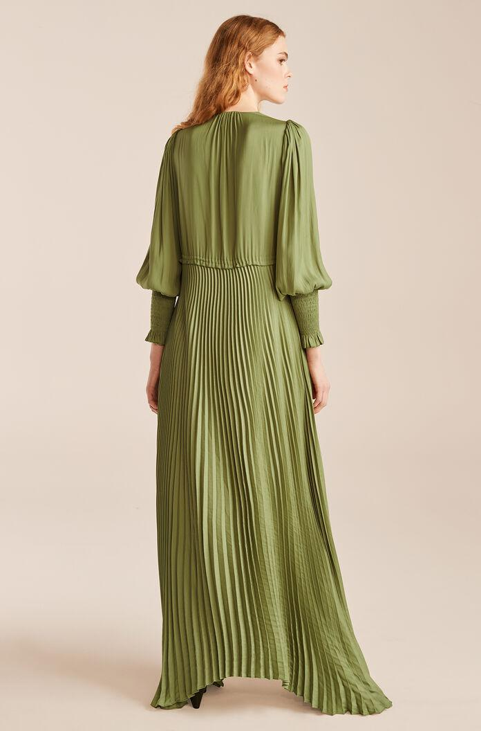 TIE FRONT PLEATED DRESS 1