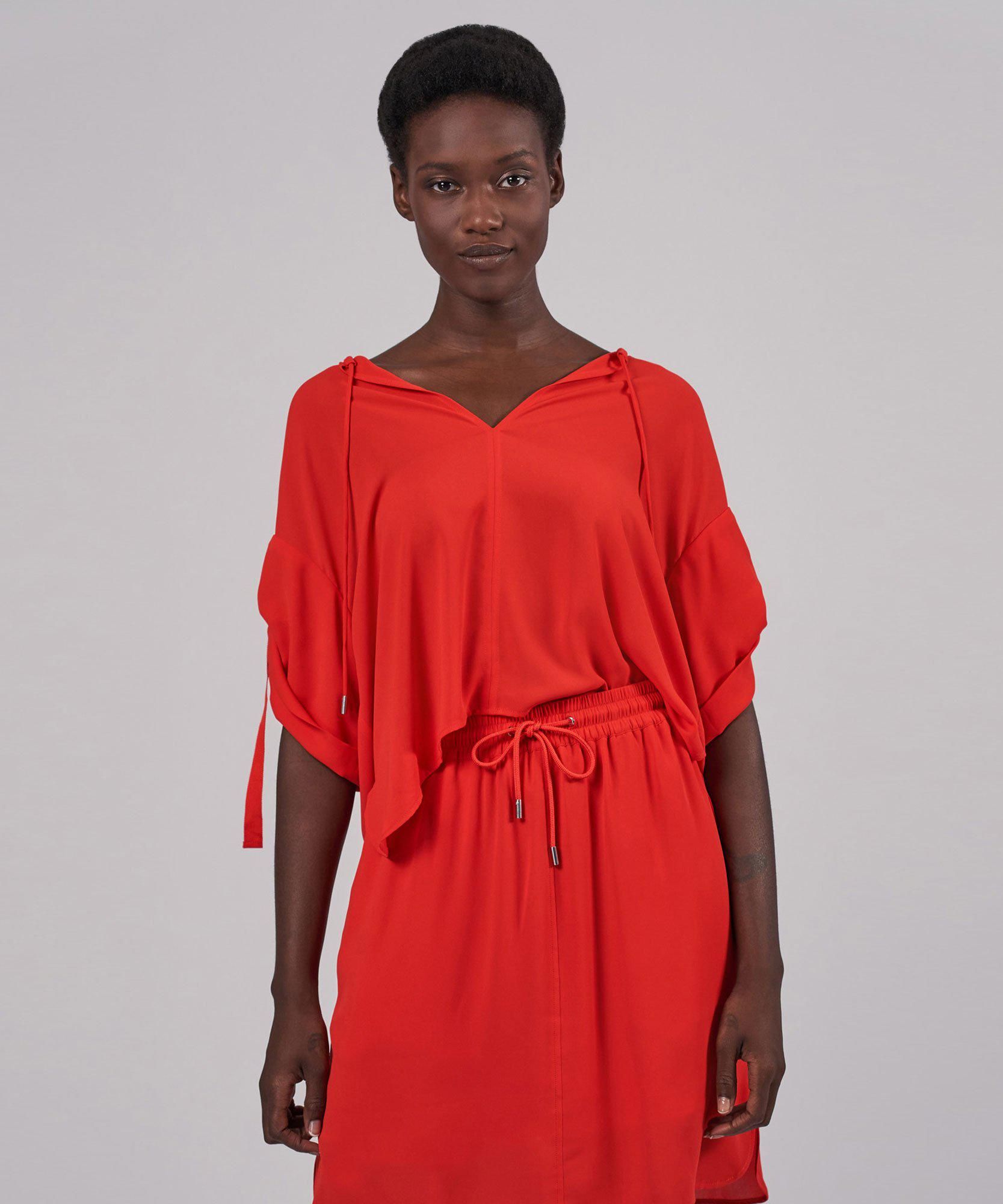 Crepe Georgette Tunic Top - Flame