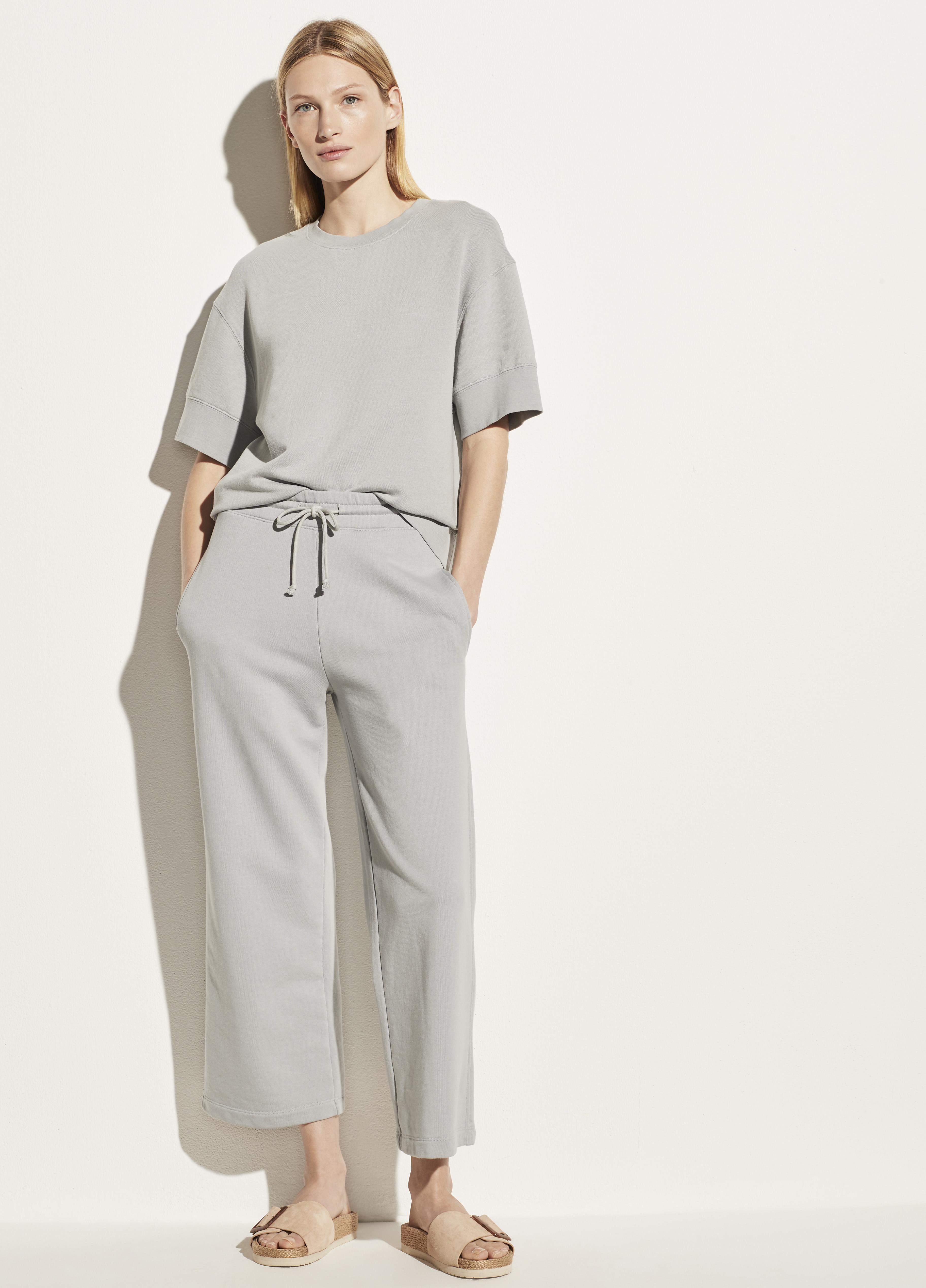 Garment Washed French Terry Cropped Pant 0