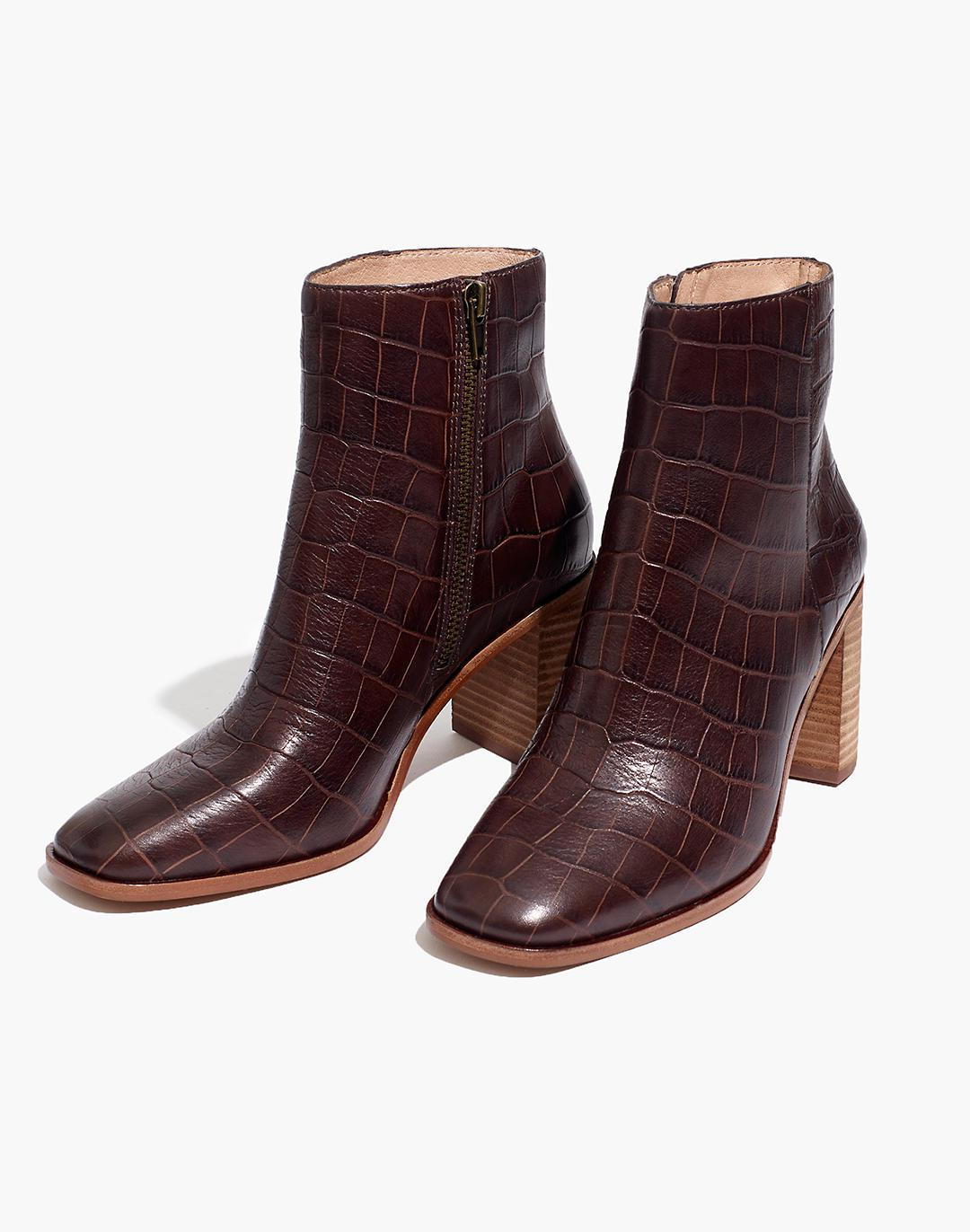 The Greer Boot in Croc Embossed Leather