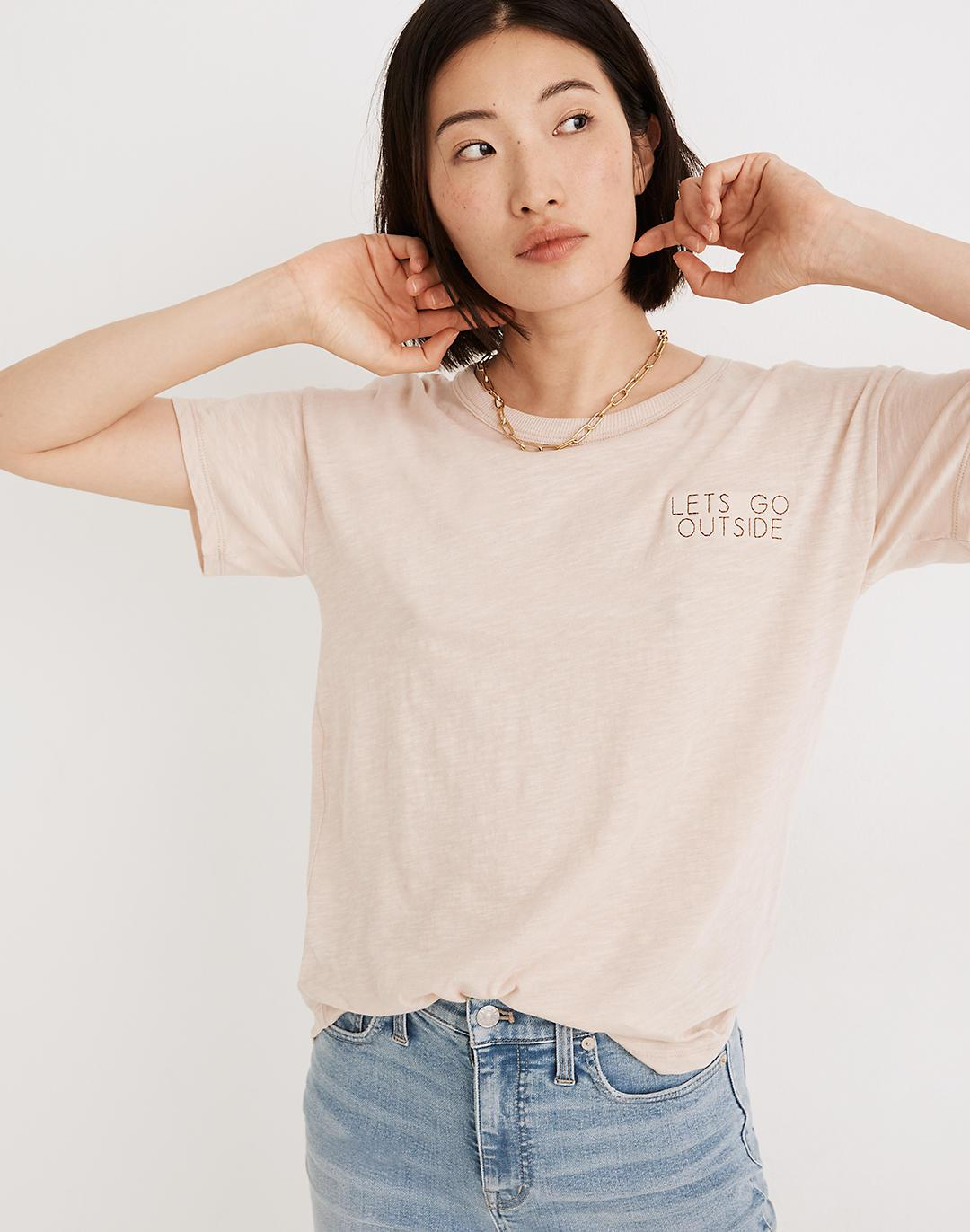 Let's Go Outside Embroidered Whisper Cotton Rib-Crewneck Tee