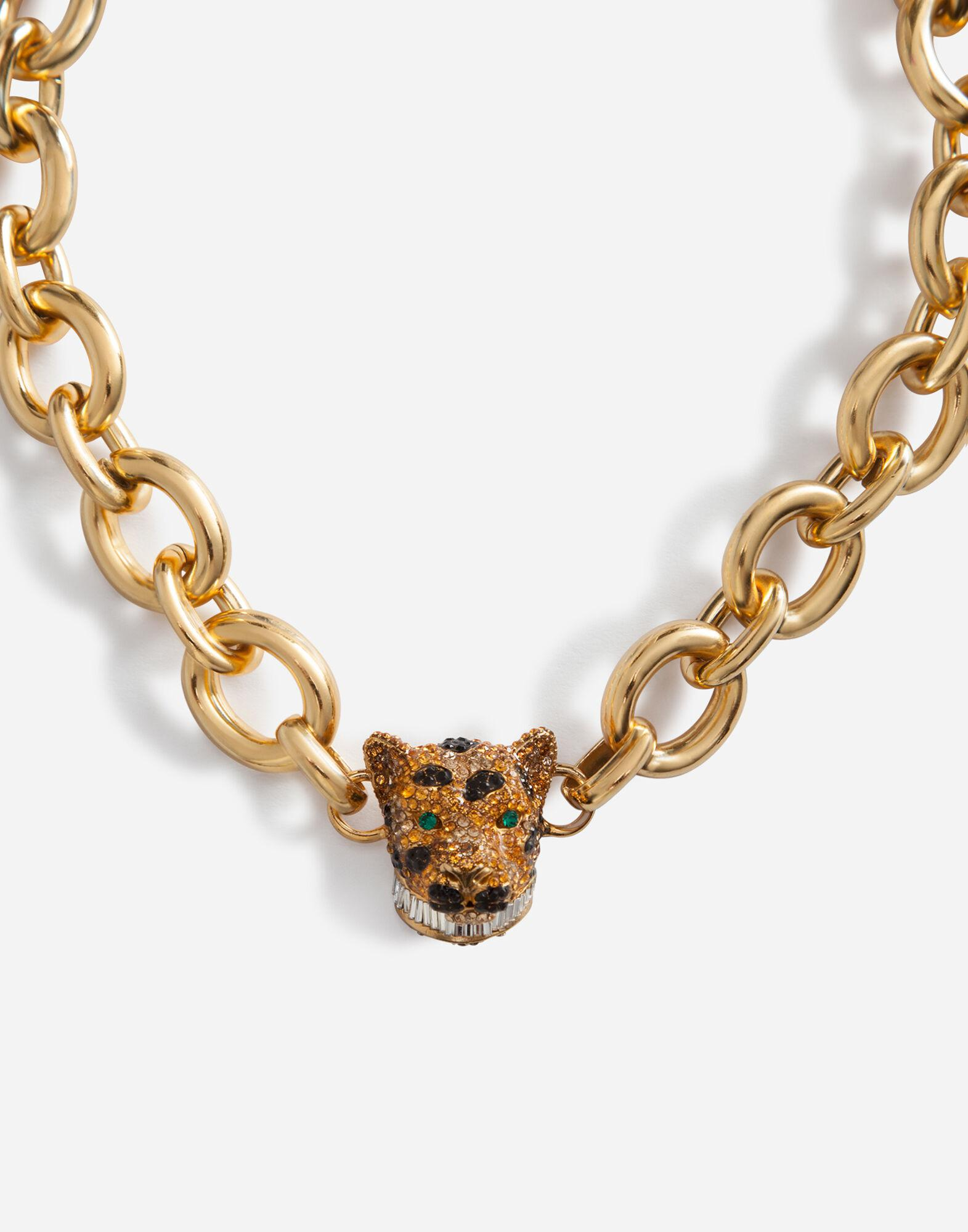 Chain choker necklace with leopard in crystal pavé 1