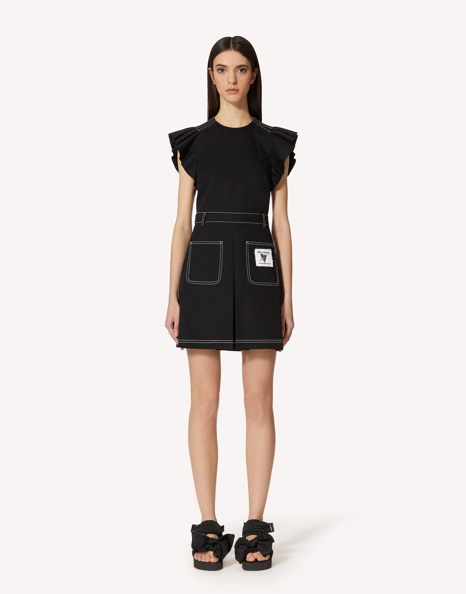 STRETCH GABARDINE DRESS WITH CONTRASTING STITCHING DETAIL