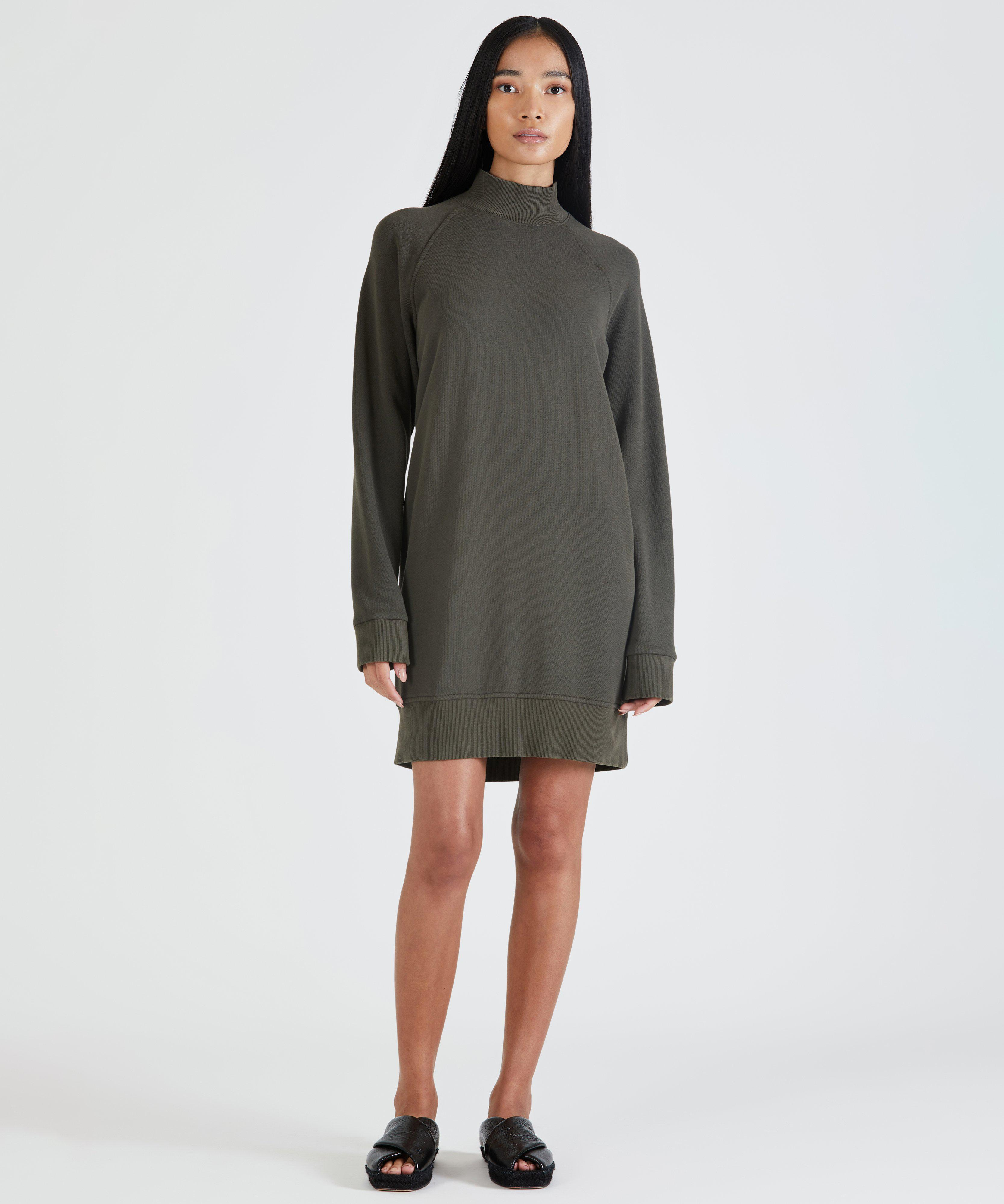 French Terry Garment Washed Mock Neck Dress - Chestnut