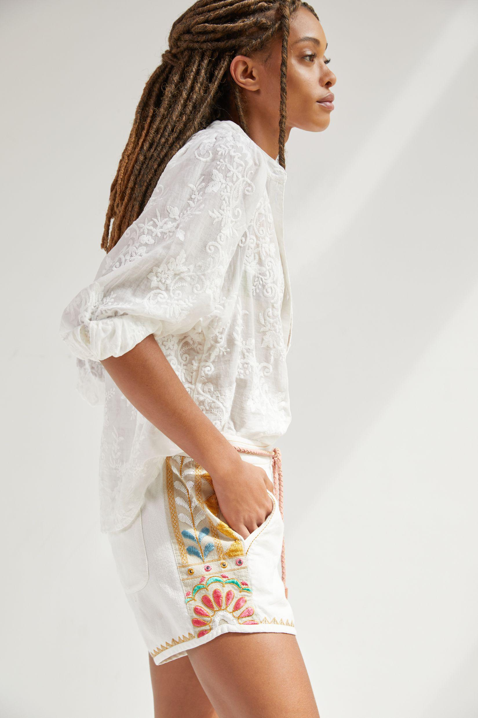 Embroidered Track Shorts