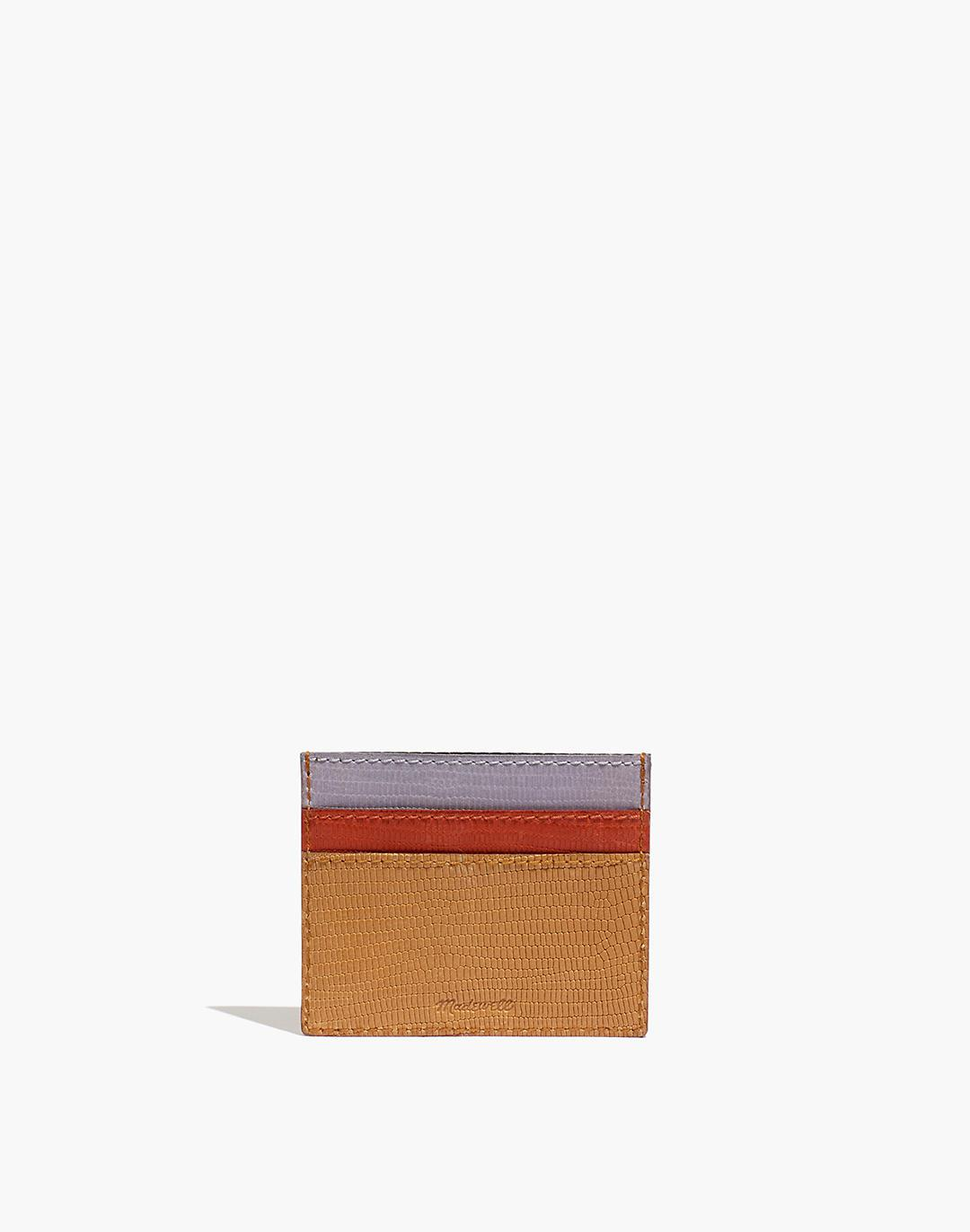 The Leather Card Case: Colorblock Lizard Embossed Edition