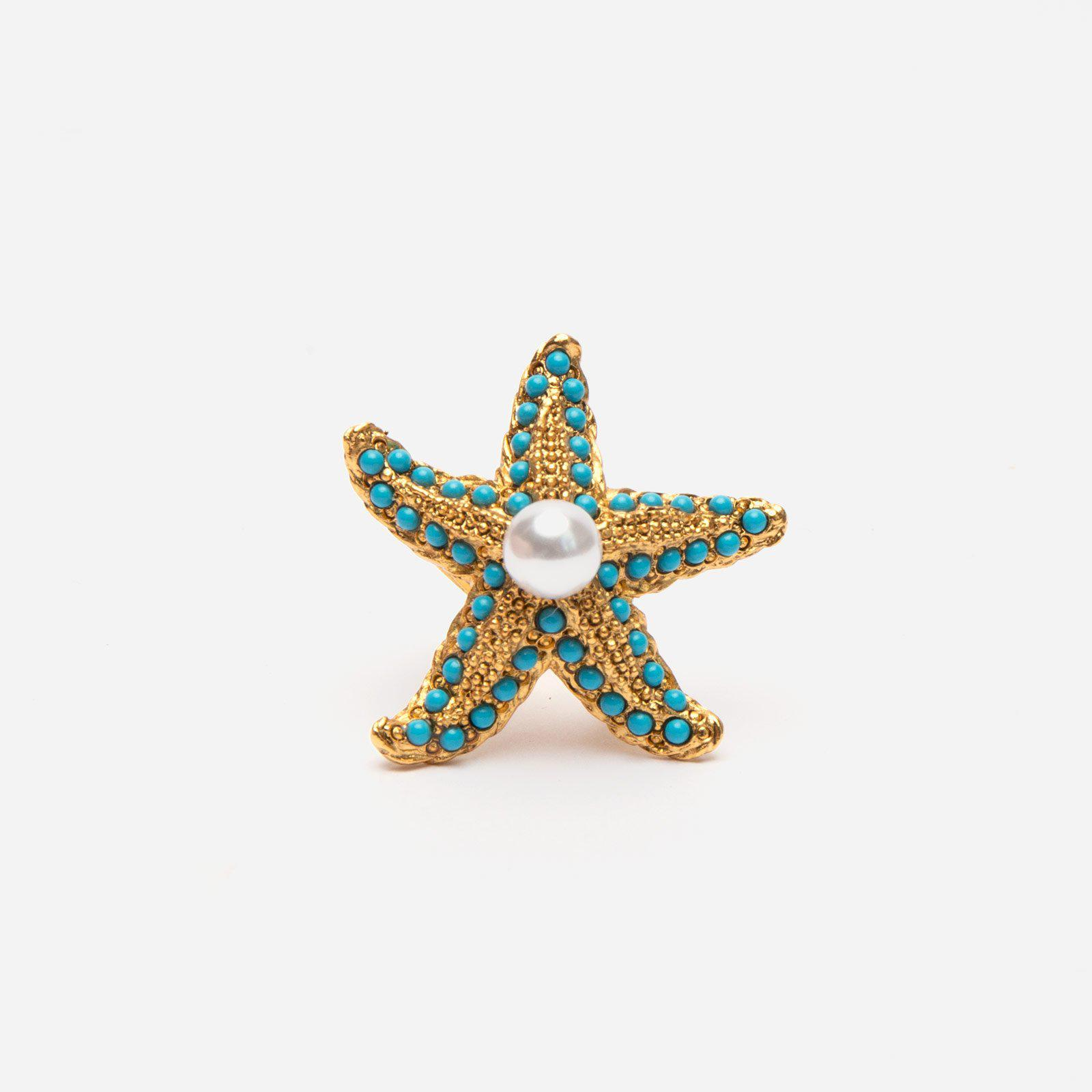 Turquoise Pearl Starfish Ring
