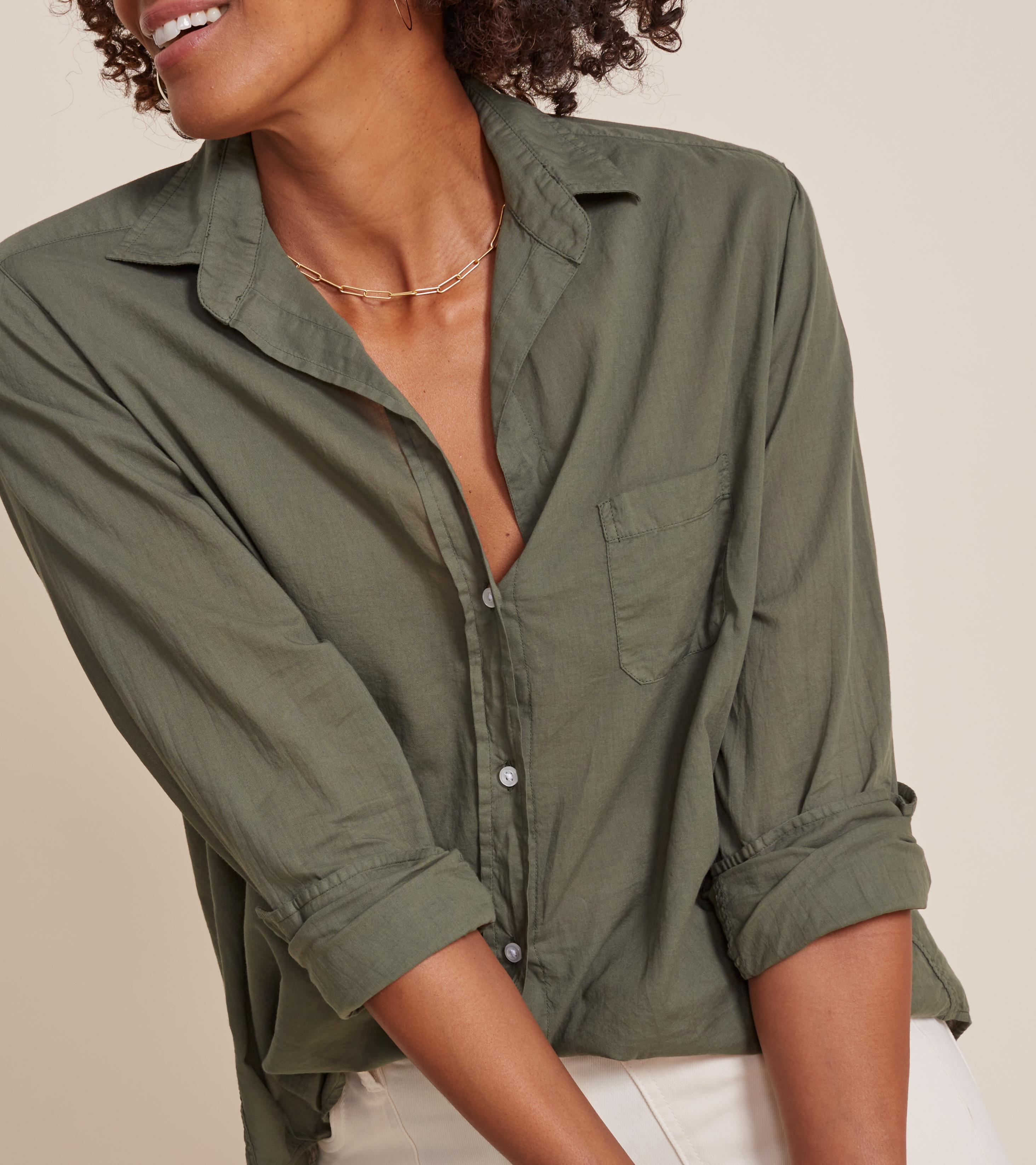 The Hero Button-Up Shirt Army Green, Tissue Cotton