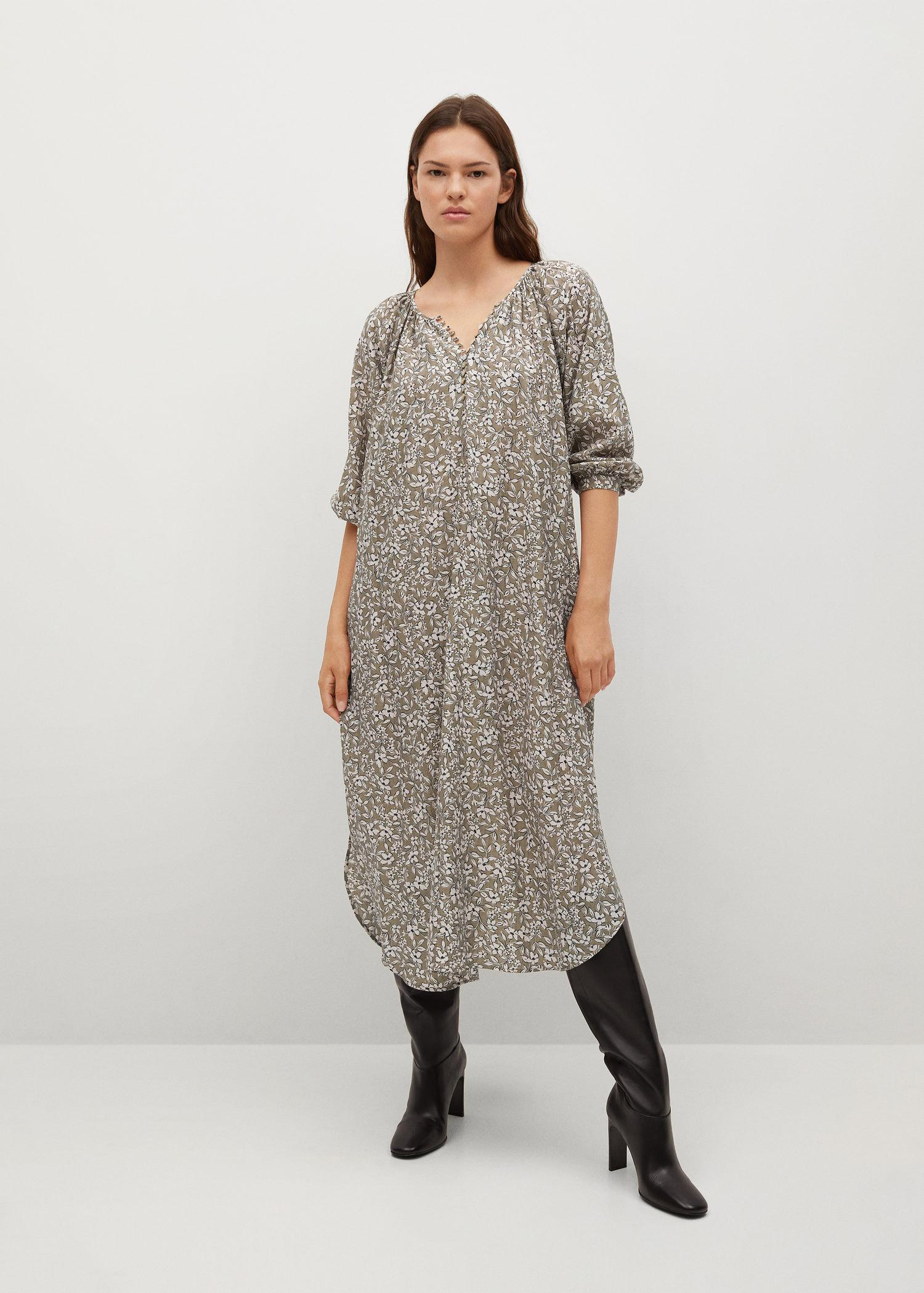 Buttoned printed dress 1